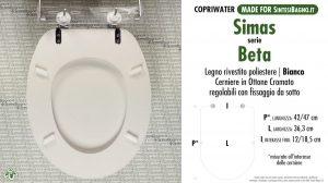 SCHEDA TECNICA MISURE copriwater SIMAS BETA