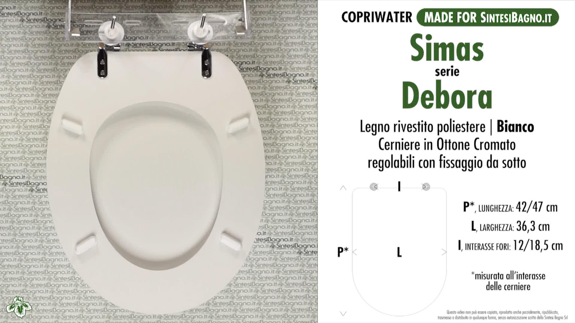 SCHEDA TECNICA MISURE copriwater SIMAS DEBORA