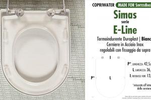 SCHEDA TECNICA MISURE copriwater SIMAS E-LINE