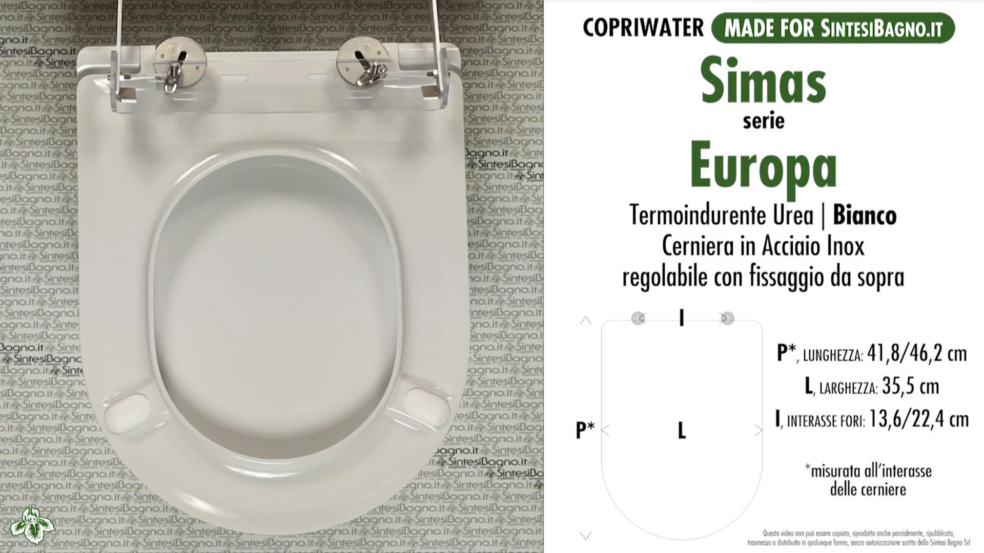 SCHEDA TECNICA MISURE copriwater SIMAS EUROPA