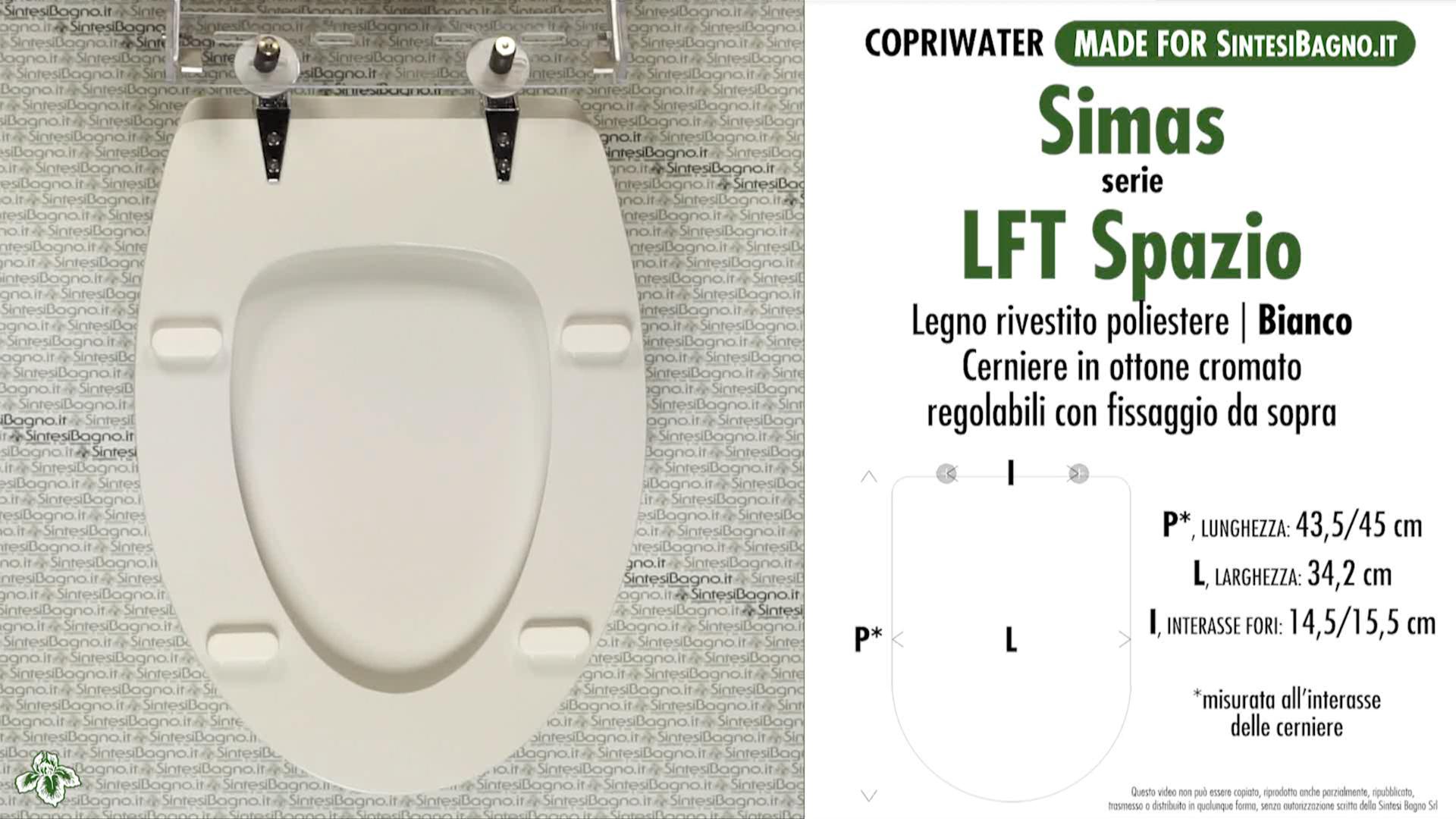 SCHEDA TECNICA MISURE copriwater SIMAS LFT SPAZIO