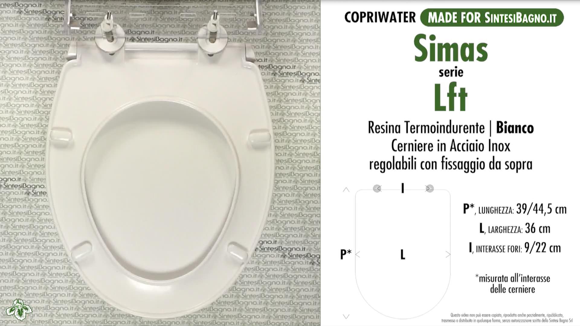 SCHEDA TECNICA MISURE copriwater SIMAS LFT