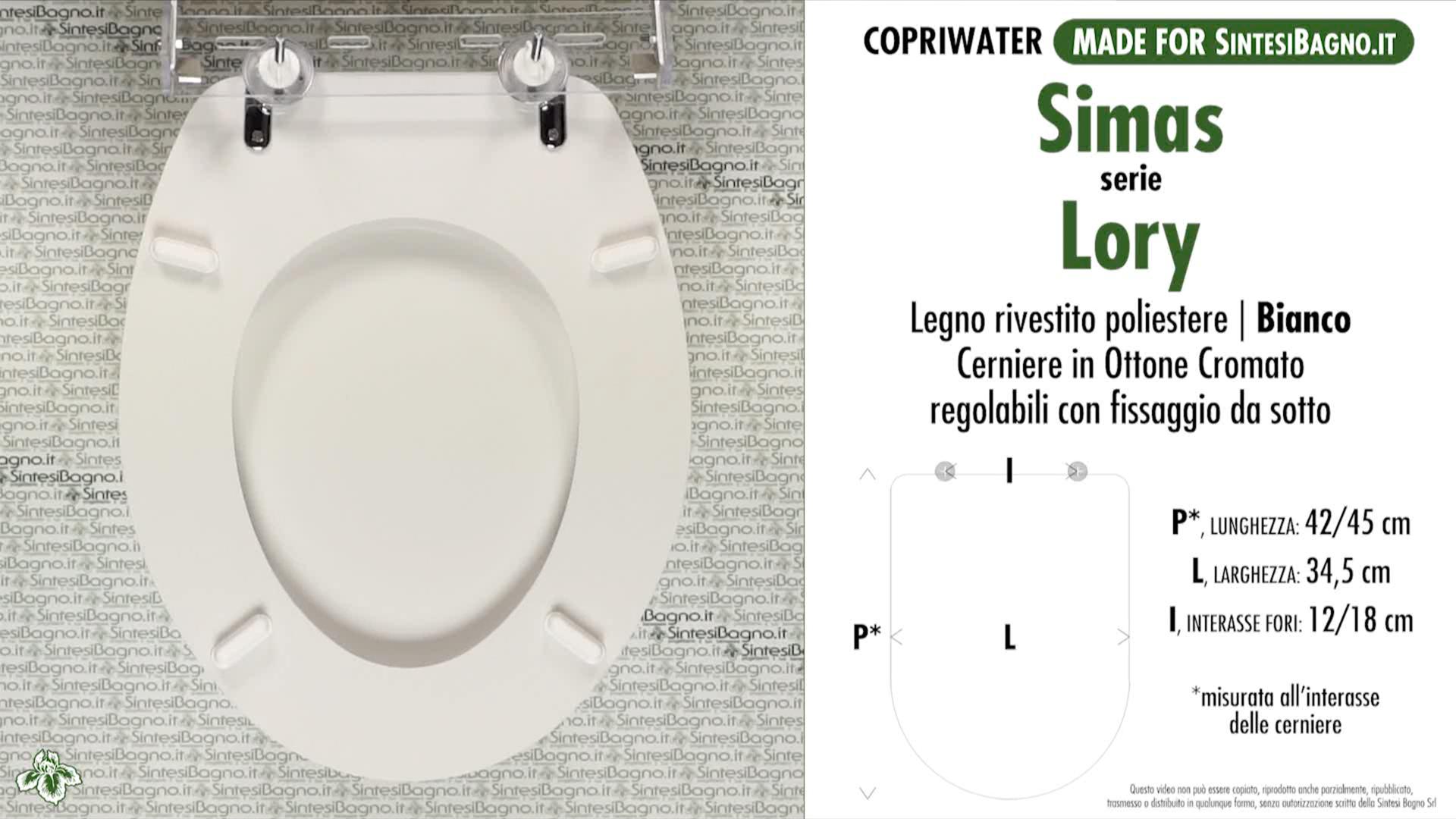 SCHEDA TECNICA MISURE copriwater SIMAS LORY