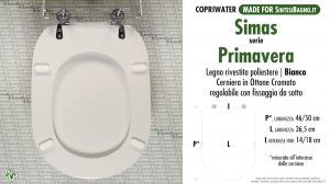 SCHEDA TECNICA MISURE copriwater SIMAS PRIMAVERA