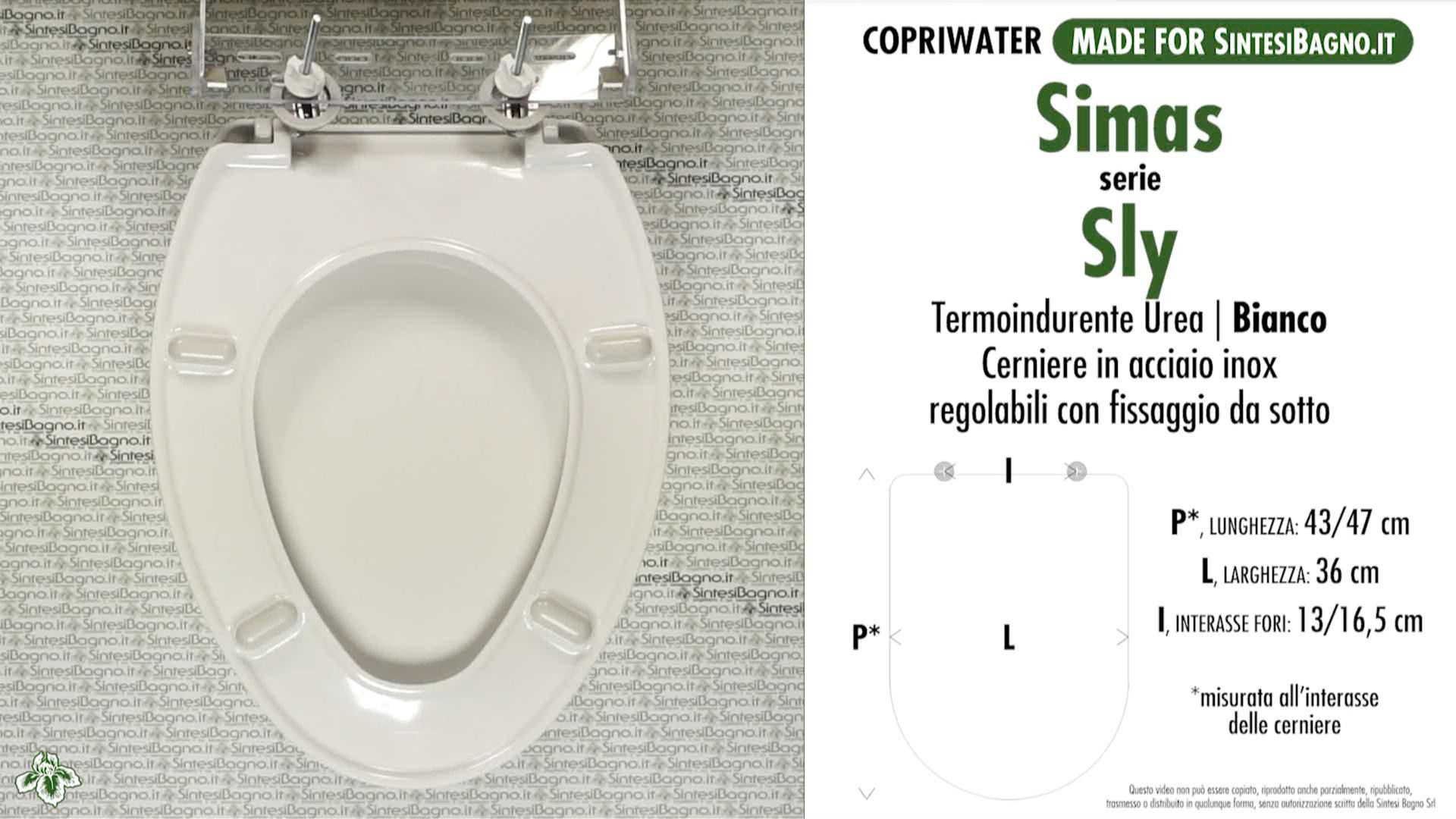 SCHEDA TECNICA MISURE copriwater SIMAS SLY