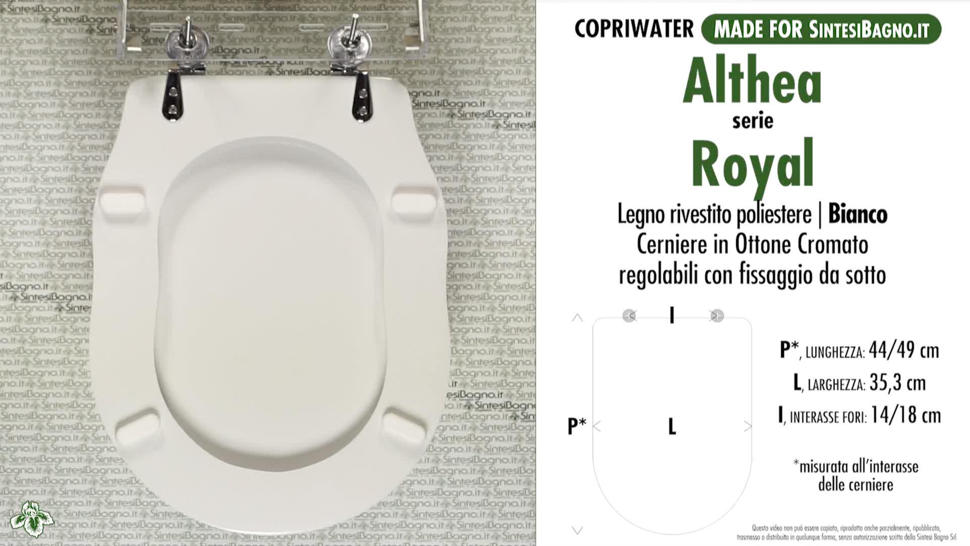 SCHEDA TECNICA MISURE copriwater ALTHEA ROYAL