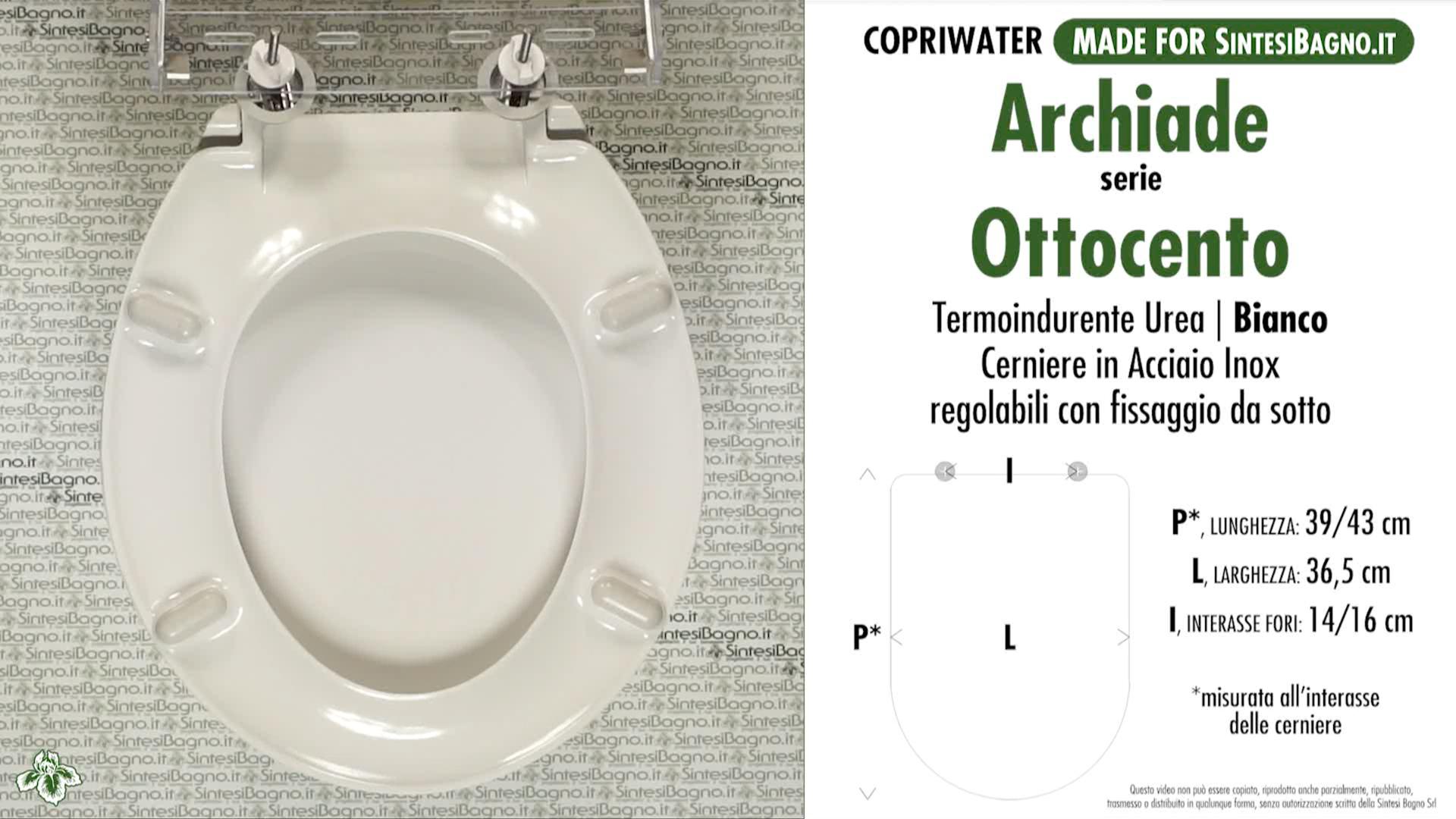 SCHEDA TECNICA MISURE copriwater ARCHIADE OTTOCENTO