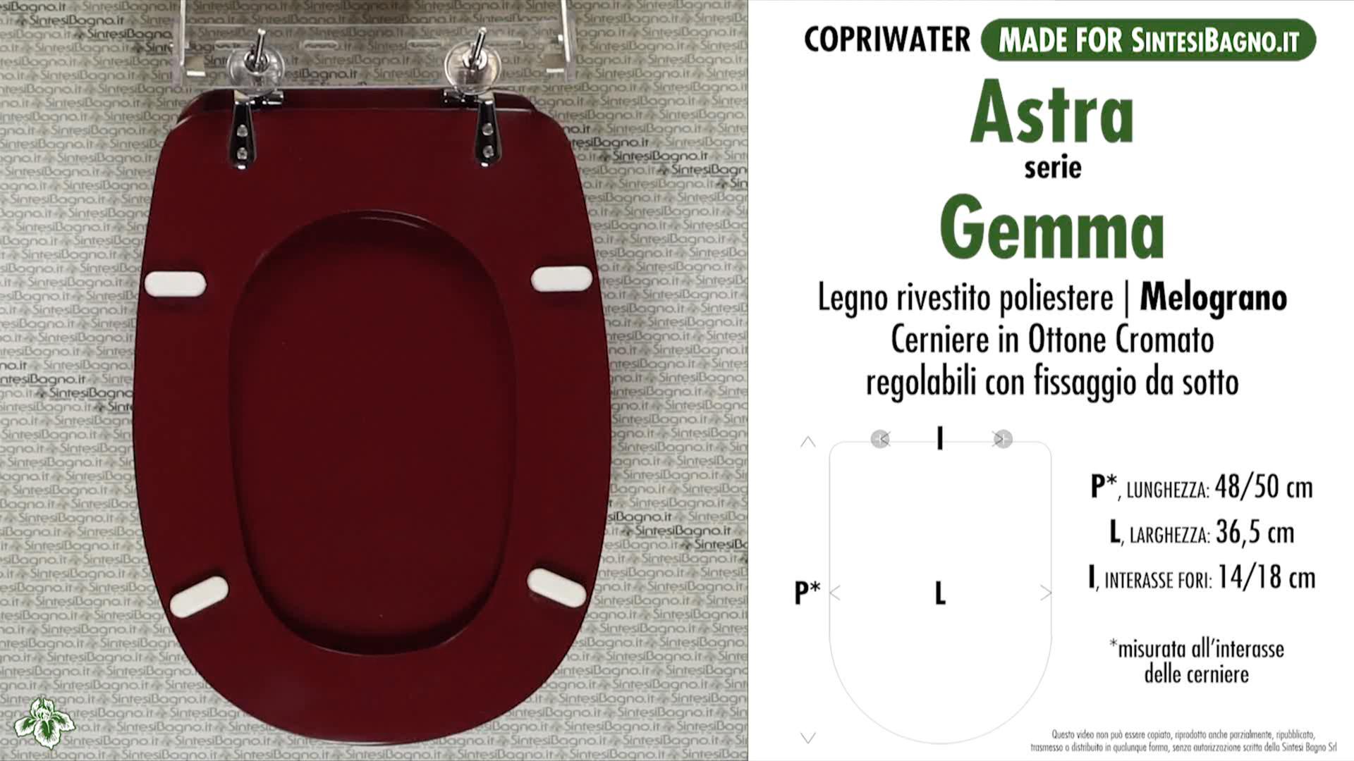 SCHEDA TECNICA MISURE copriwater ASTRA GEMMA
