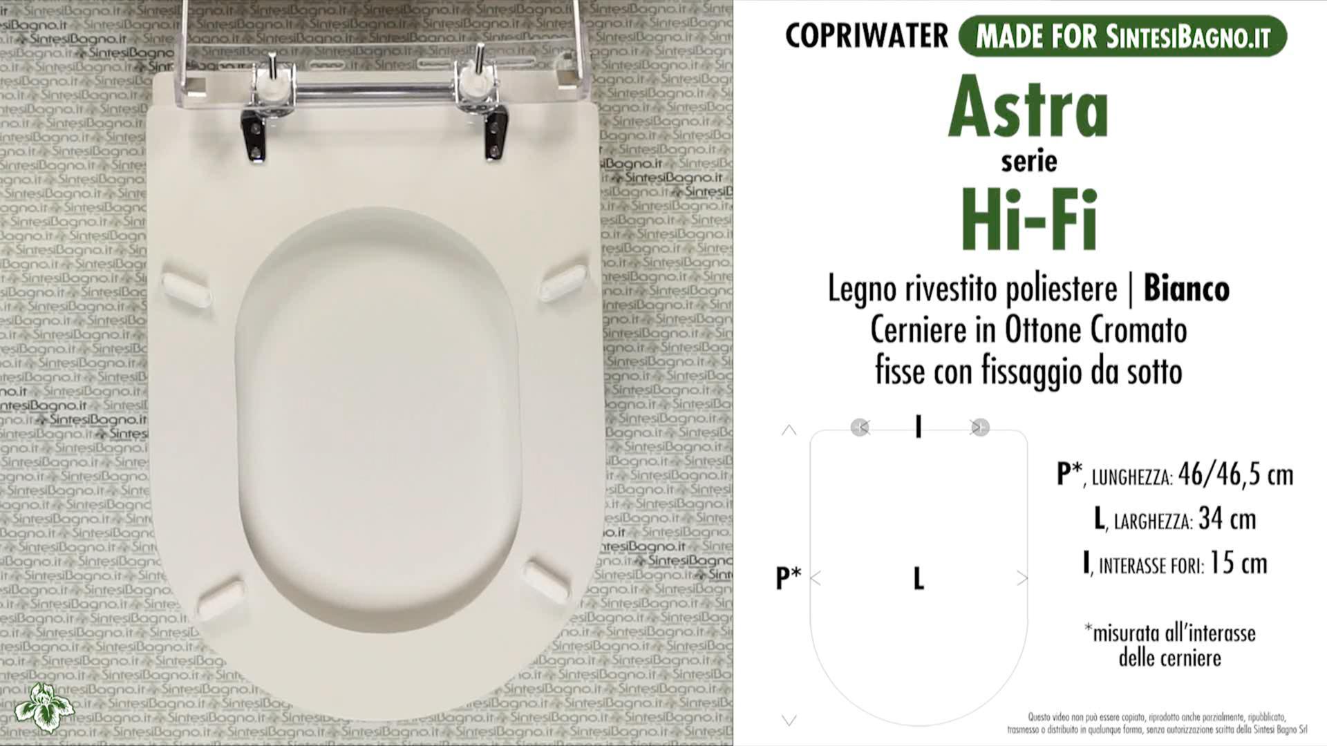 SCHEDA TECNICA MISURE copriwater ASTRA HI-FI