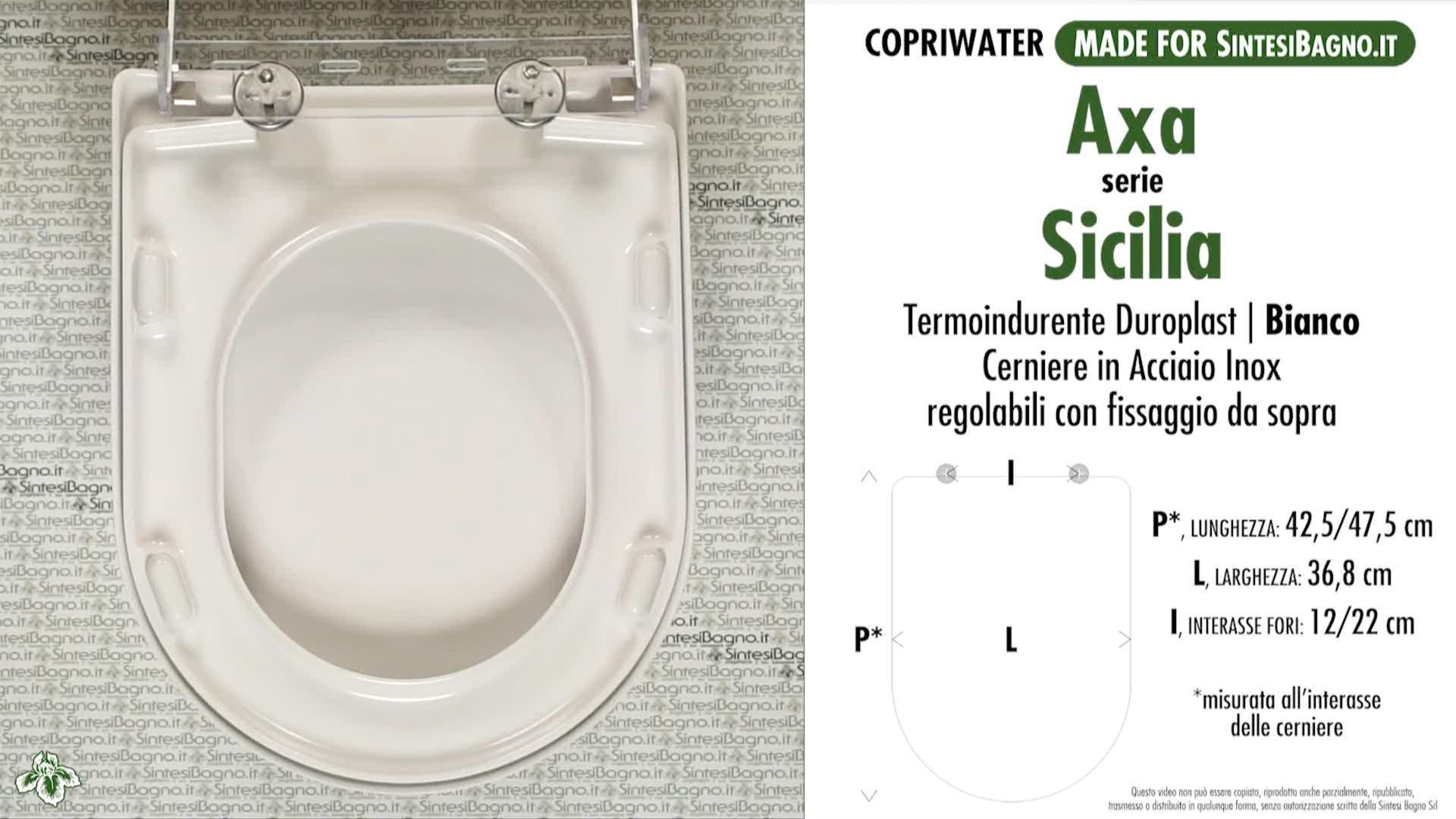 SCHEDA TECNICA MISURE copriwater AXA SICILIA