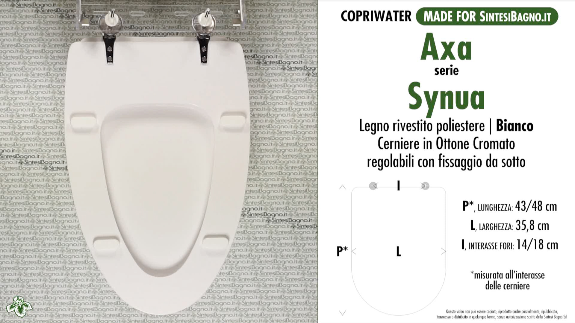 SCHEDA TECNICA MISURE copriwater AXA SYNUA