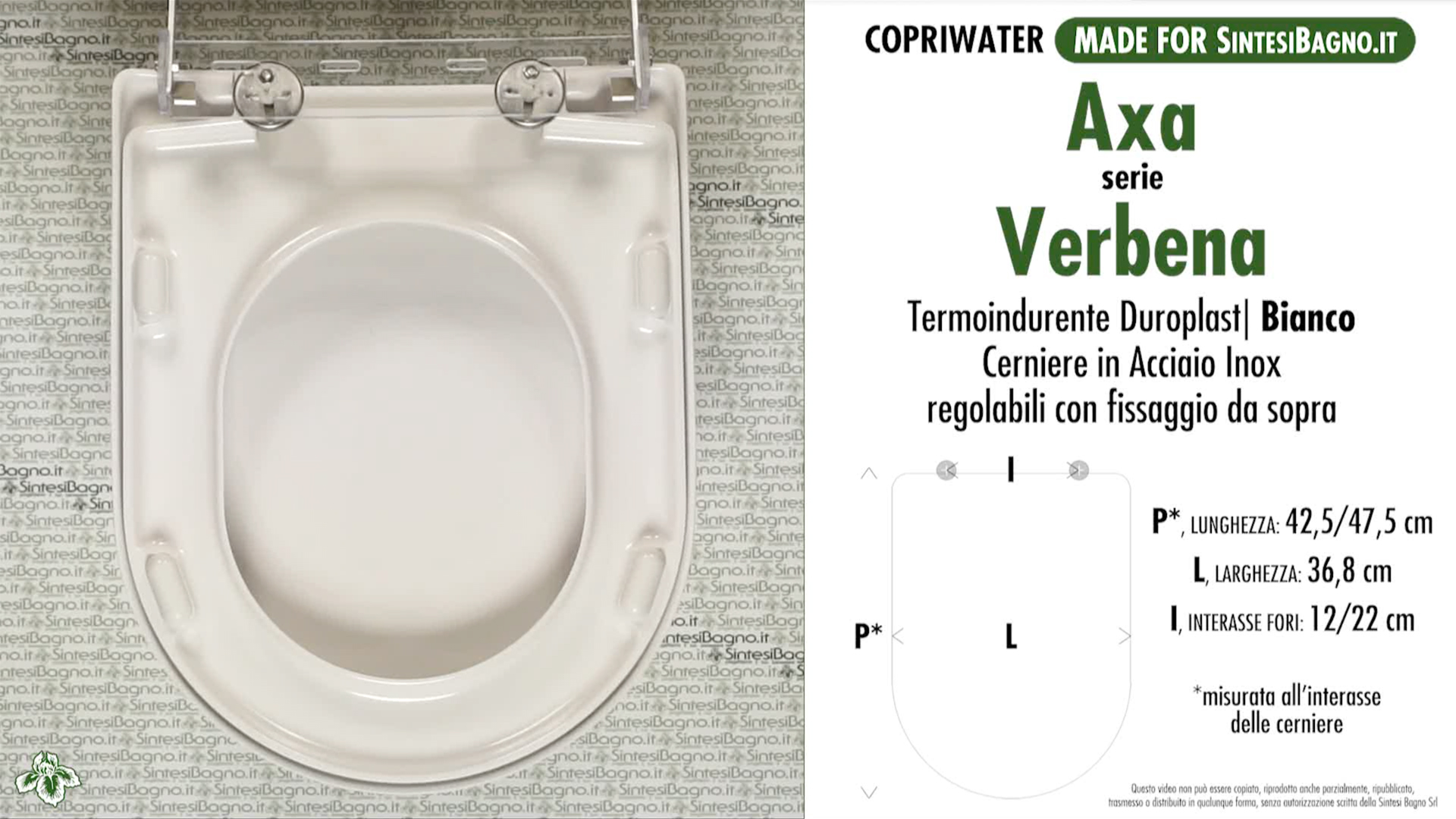 SCHEDA TECNICA MISURE copriwater AXA VERBENA