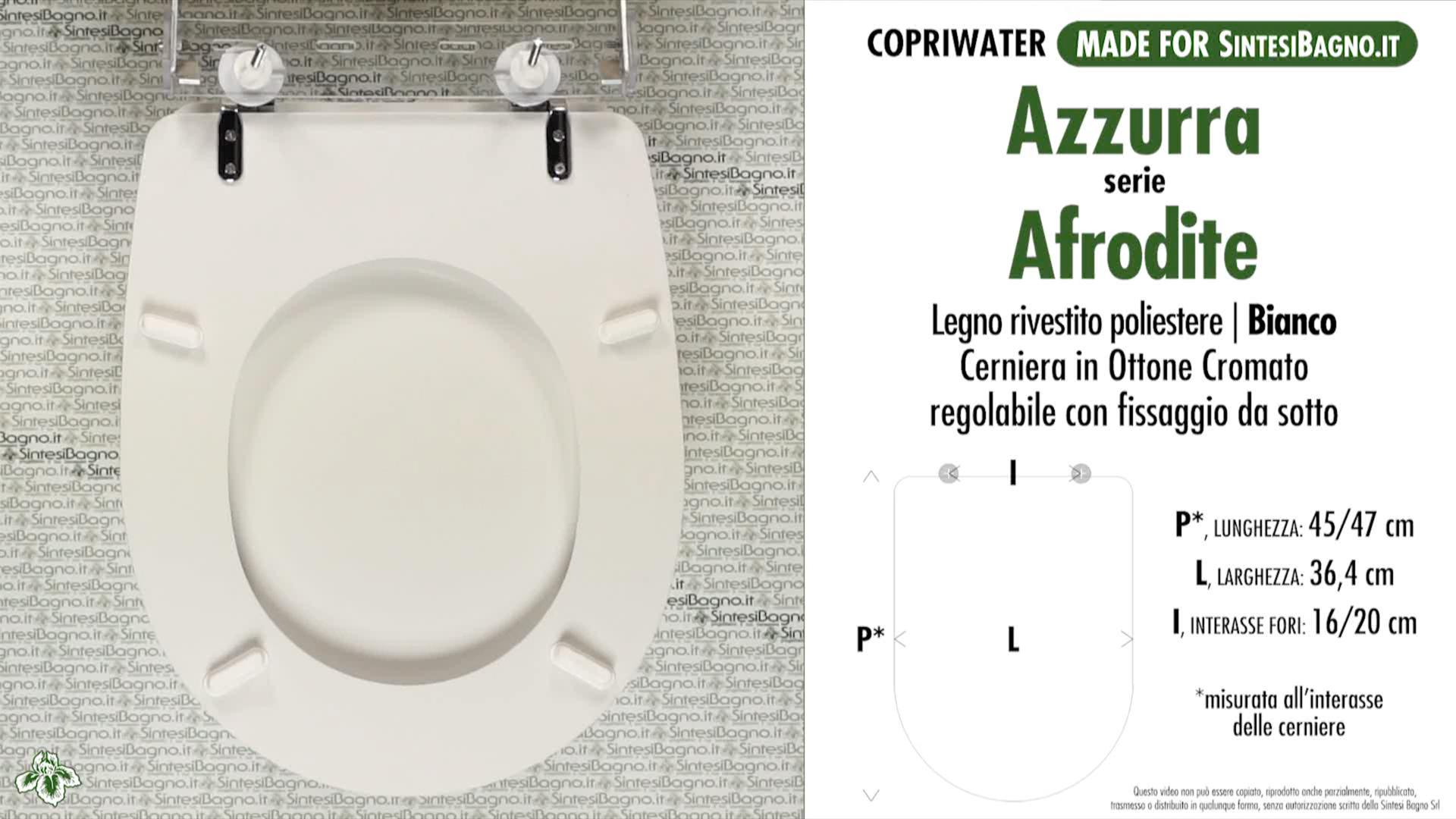 SCHEDA TECNICA MISURE copriwater AZZURRA AFRODITE