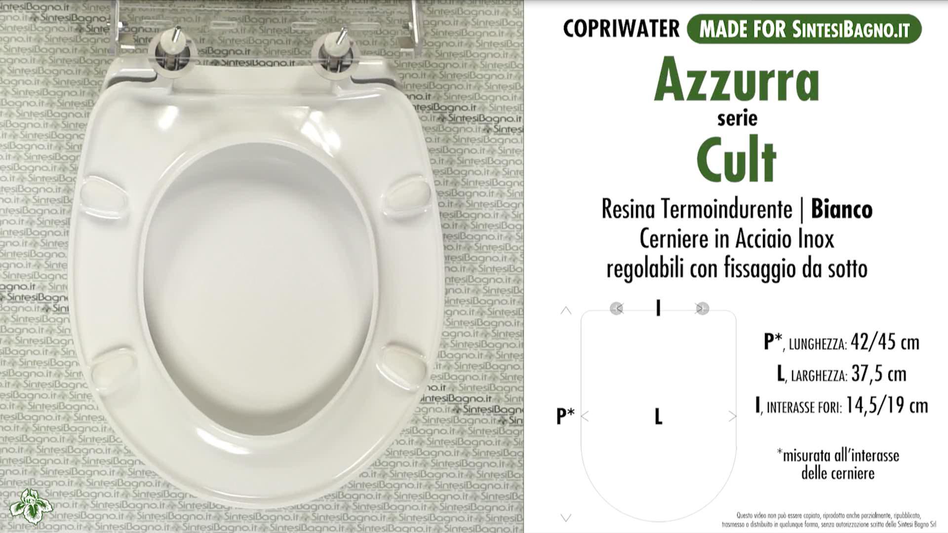 SCHEDA TECNICA MISURE copriwater AZZURRA CULT