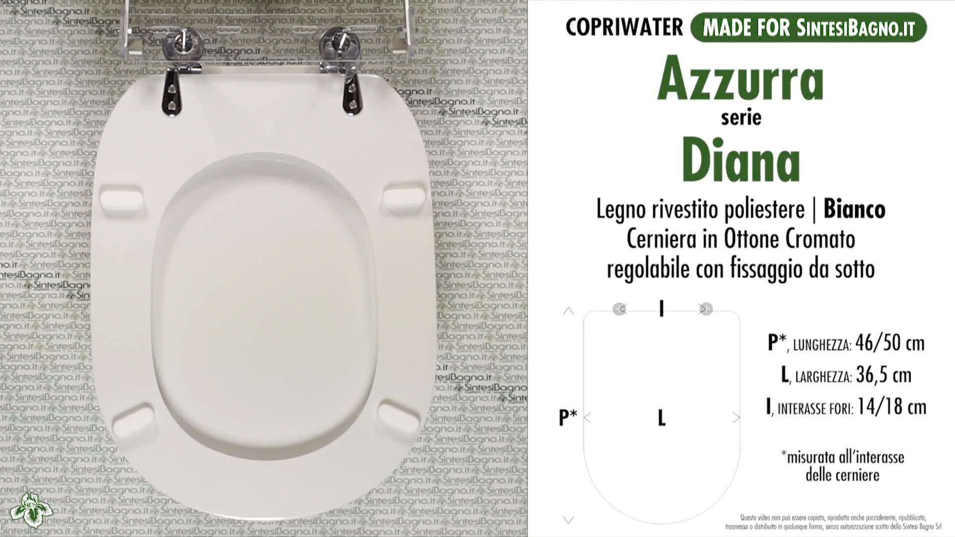 SCHEDA TECNICA MISURE copriwater AZZURRA DIANA