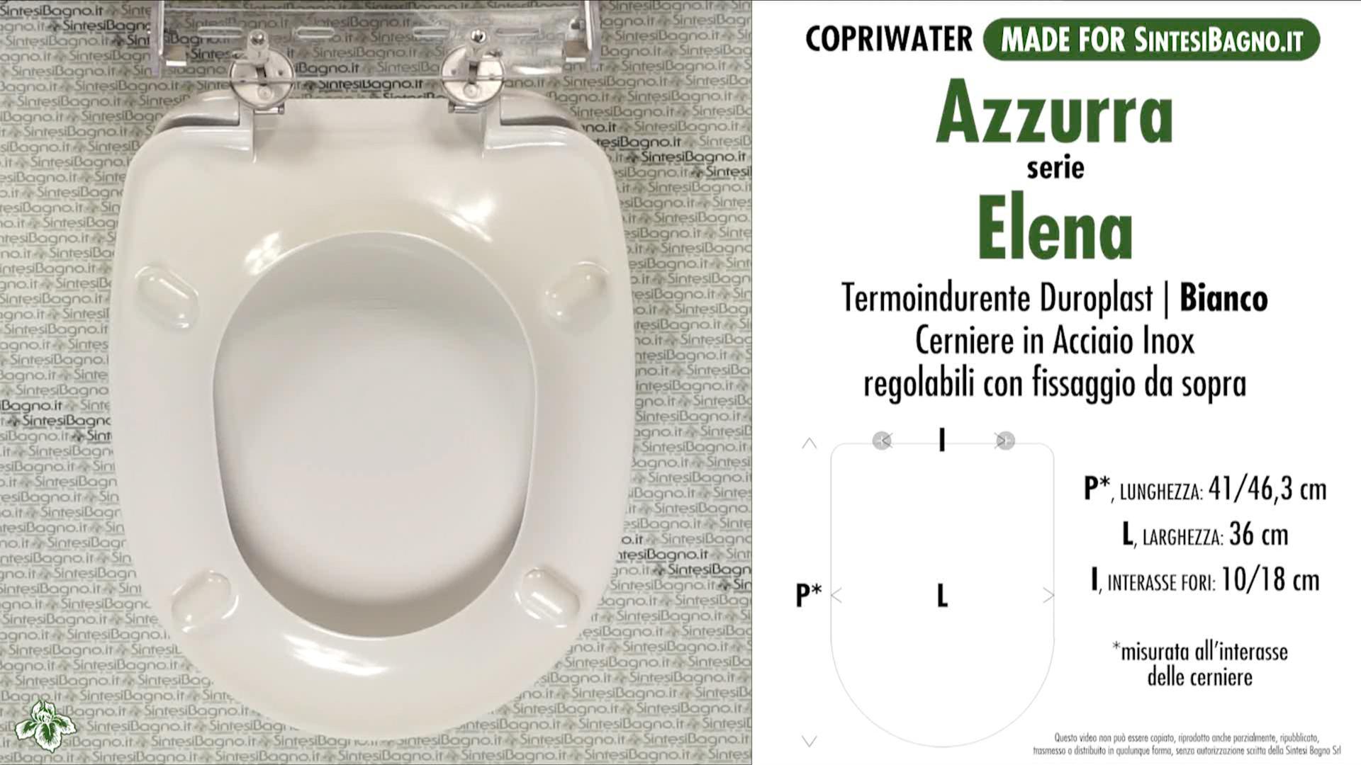 SCHEDA TECNICA MISURE copriwater AZZURRA ELENA