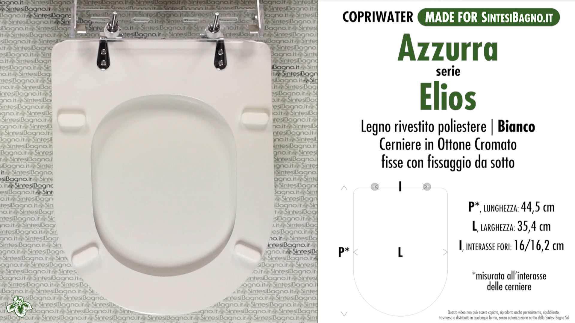 SCHEDA TECNICA MISURE copriwater AZZURRA ELIOS