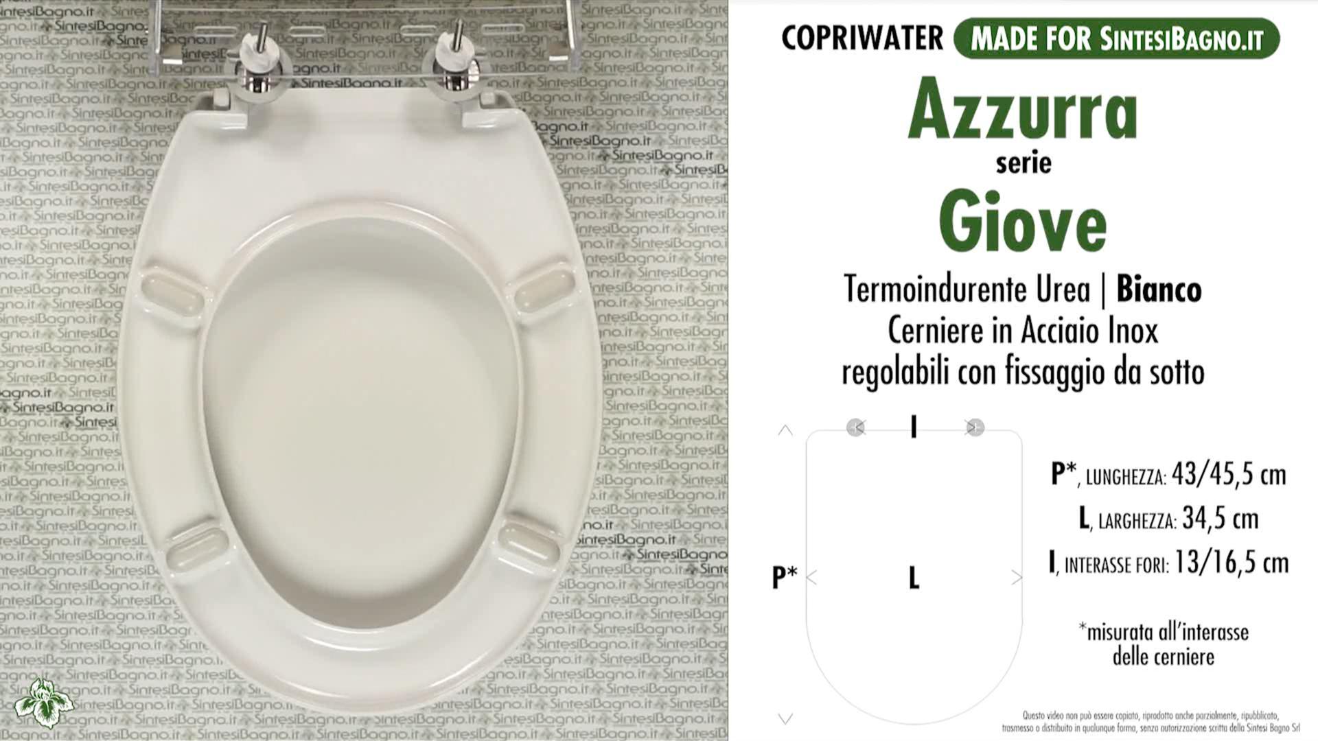 SCHEDA TECNICA MISURE copriwater AZZURRA GIOVE