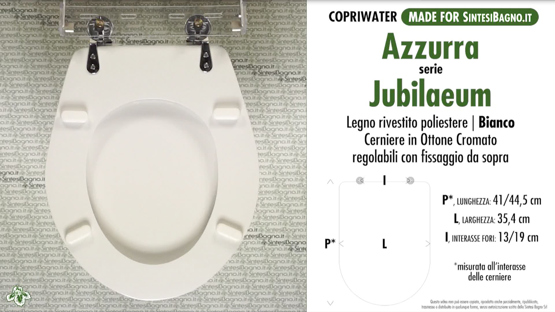 SCHEDA TECNICA MISURE copriwater AZZURRA JUBILAEUM