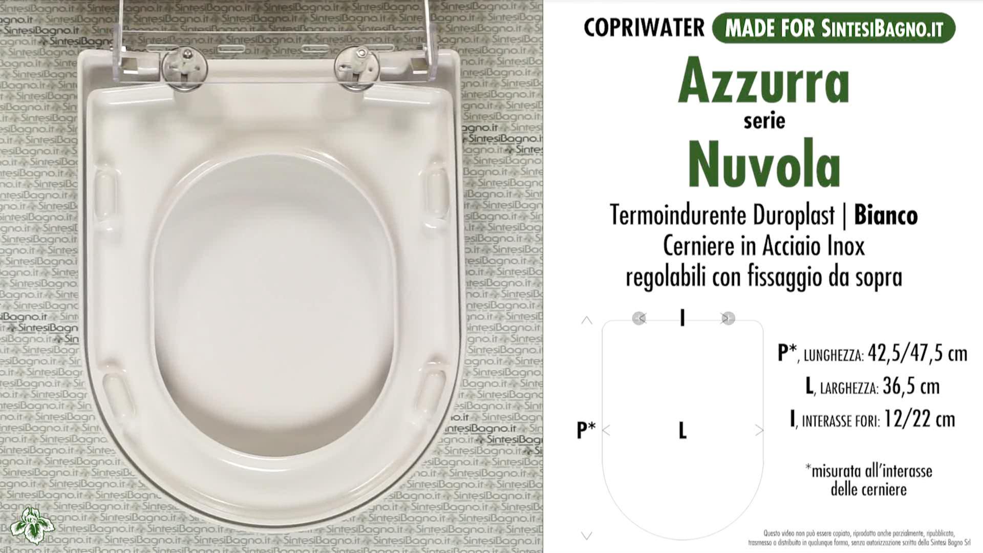 SCHEDA TECNICA MISURE copriwater AZZURRA NUVOLA