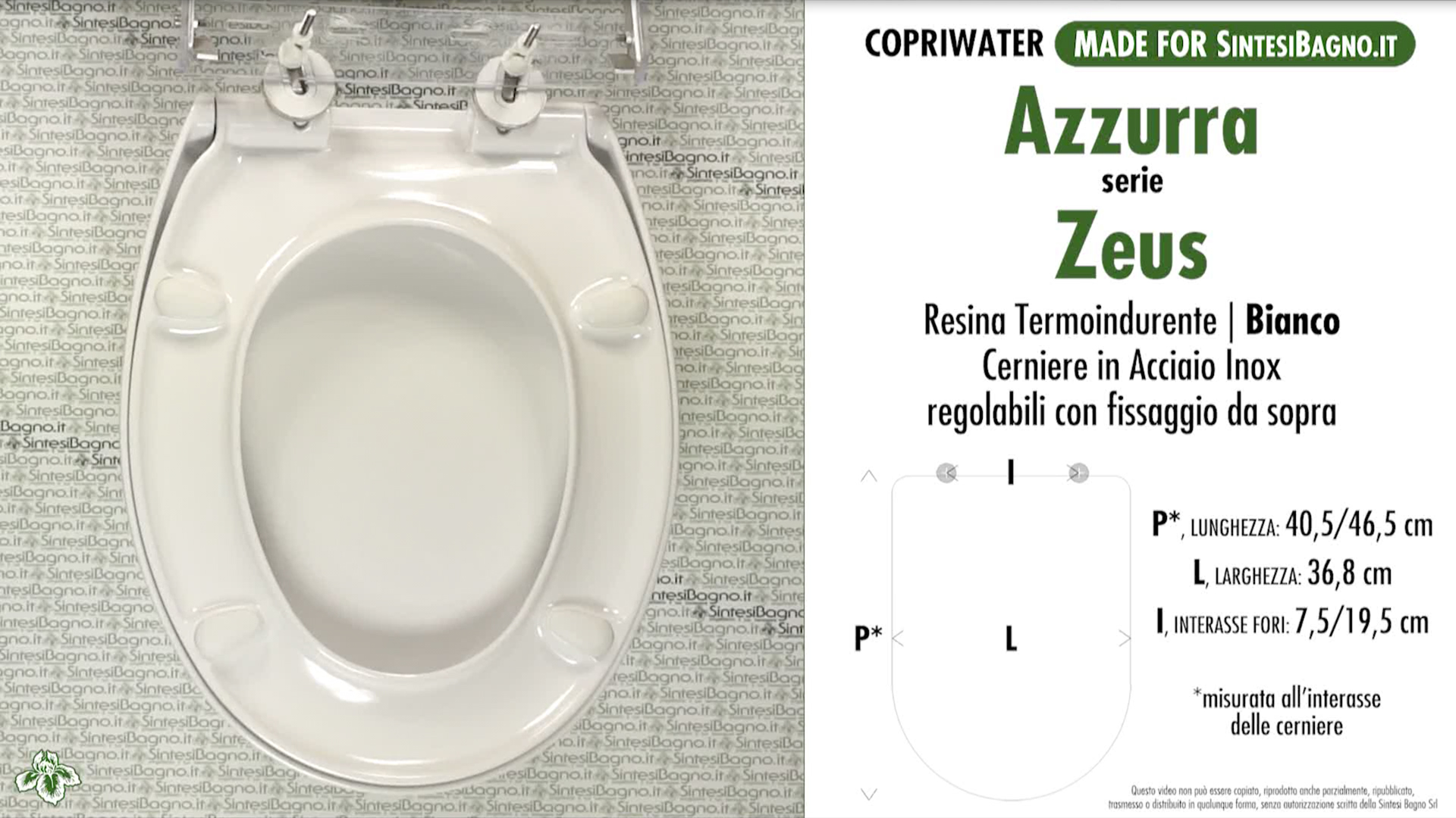 SCHEDA TECNICA MISURE copriwater AZZURRA ZEUS