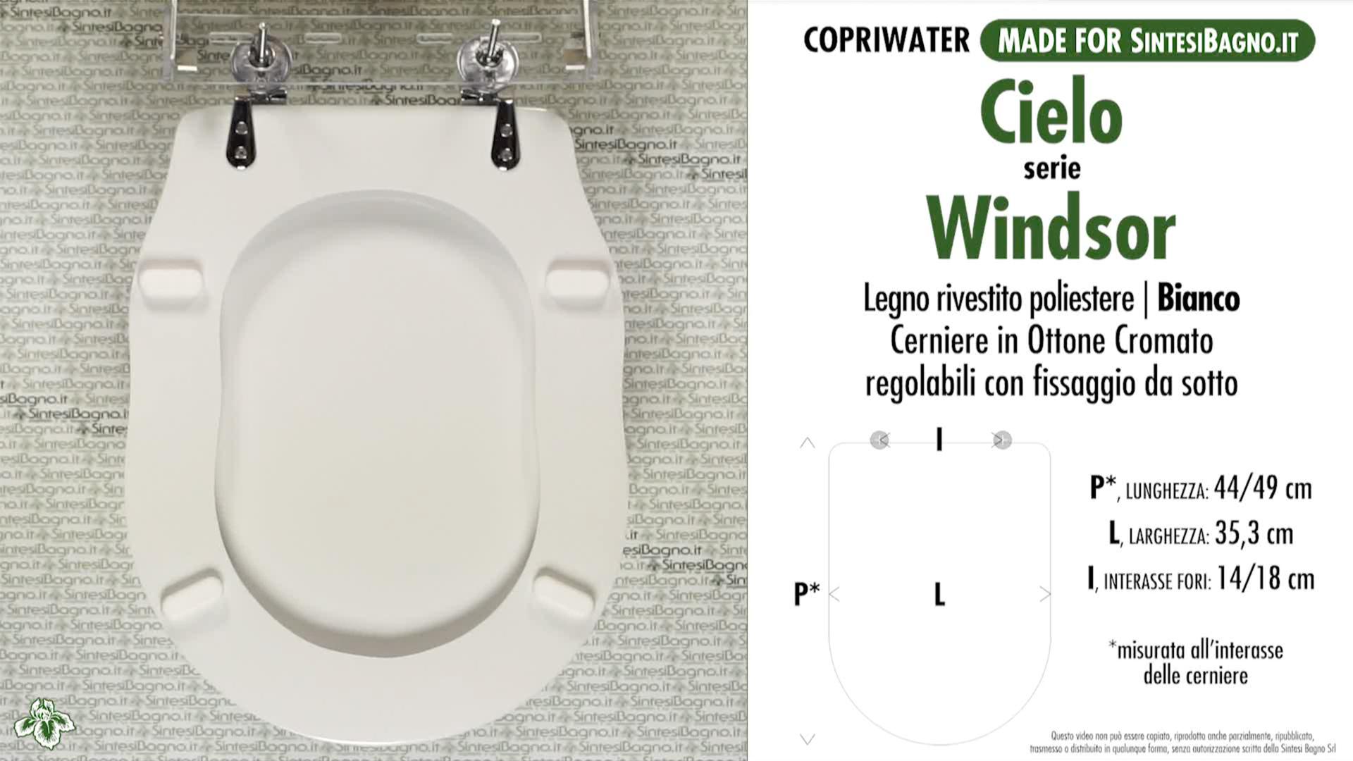 SCHEDA TECNICA MISURE copriwater CIELO WINDSOR