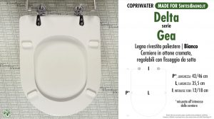 SCHEDA TECNICA MISURE copriwater DELTA GEA