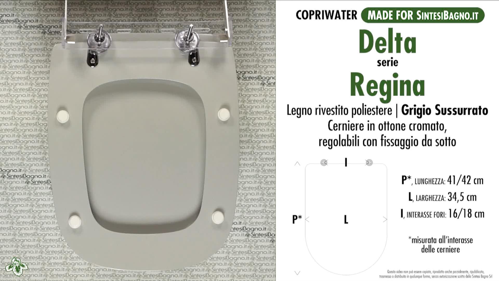 SCHEDA TECNICA MISURE copriwater DELTA REGINA
