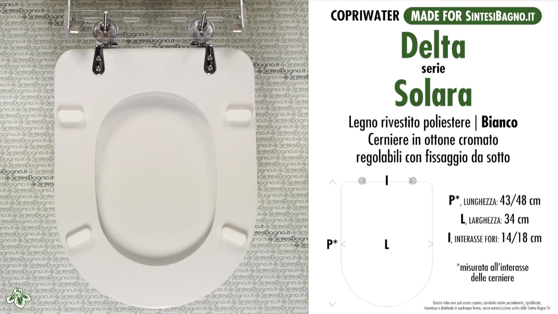 SCHEDA TECNICA MISURE copriwater DELTA SOLARA