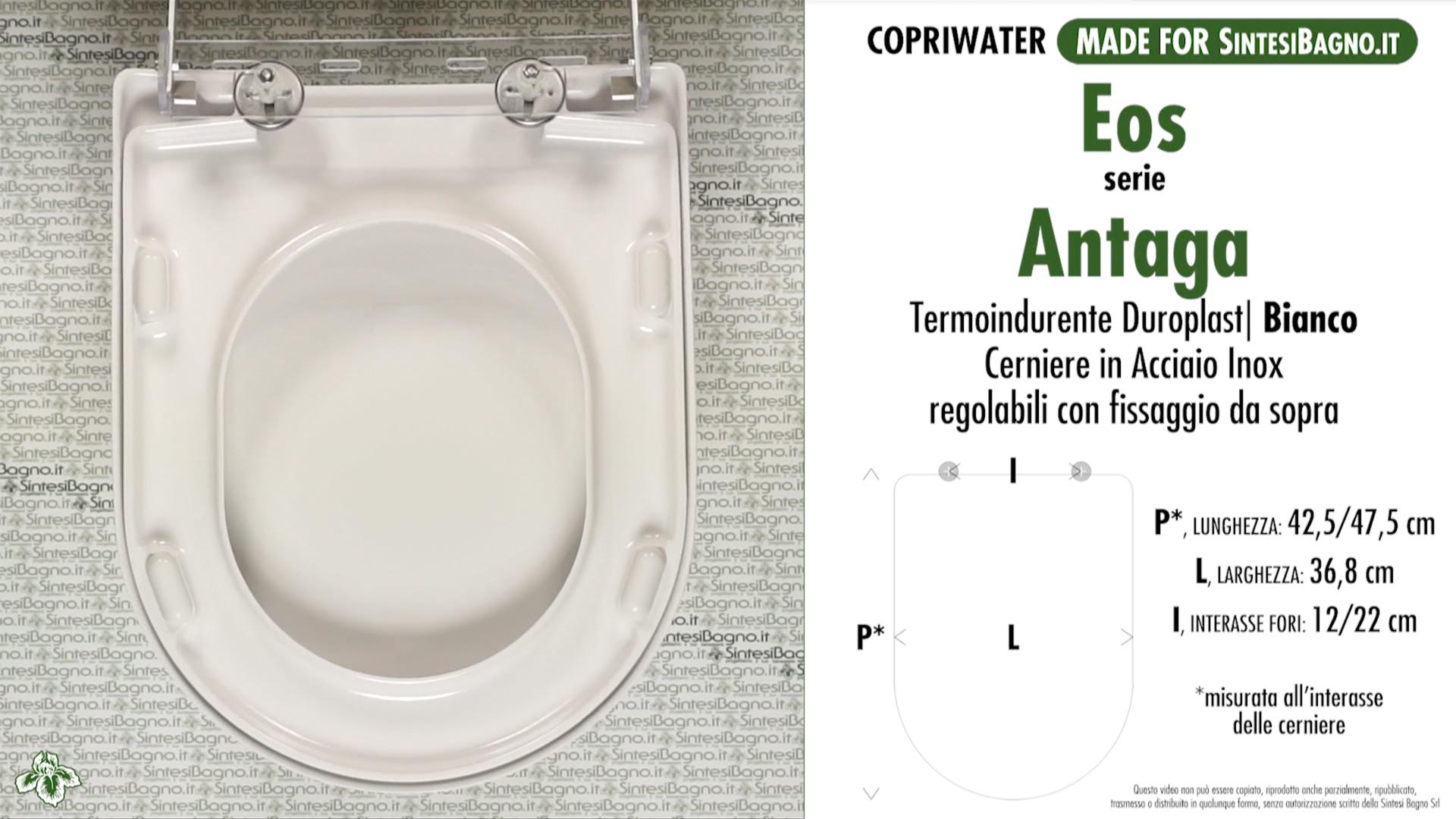 SCHEDA TECNICA MISURE copriwater EOS ANTAGA