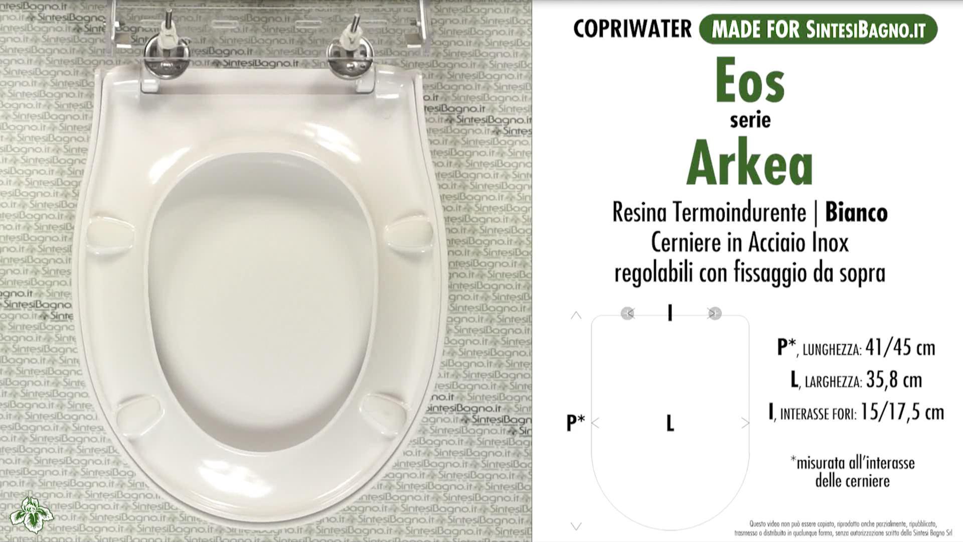 SCHEDA TECNICA MISURE copriwater EOS ARKEA