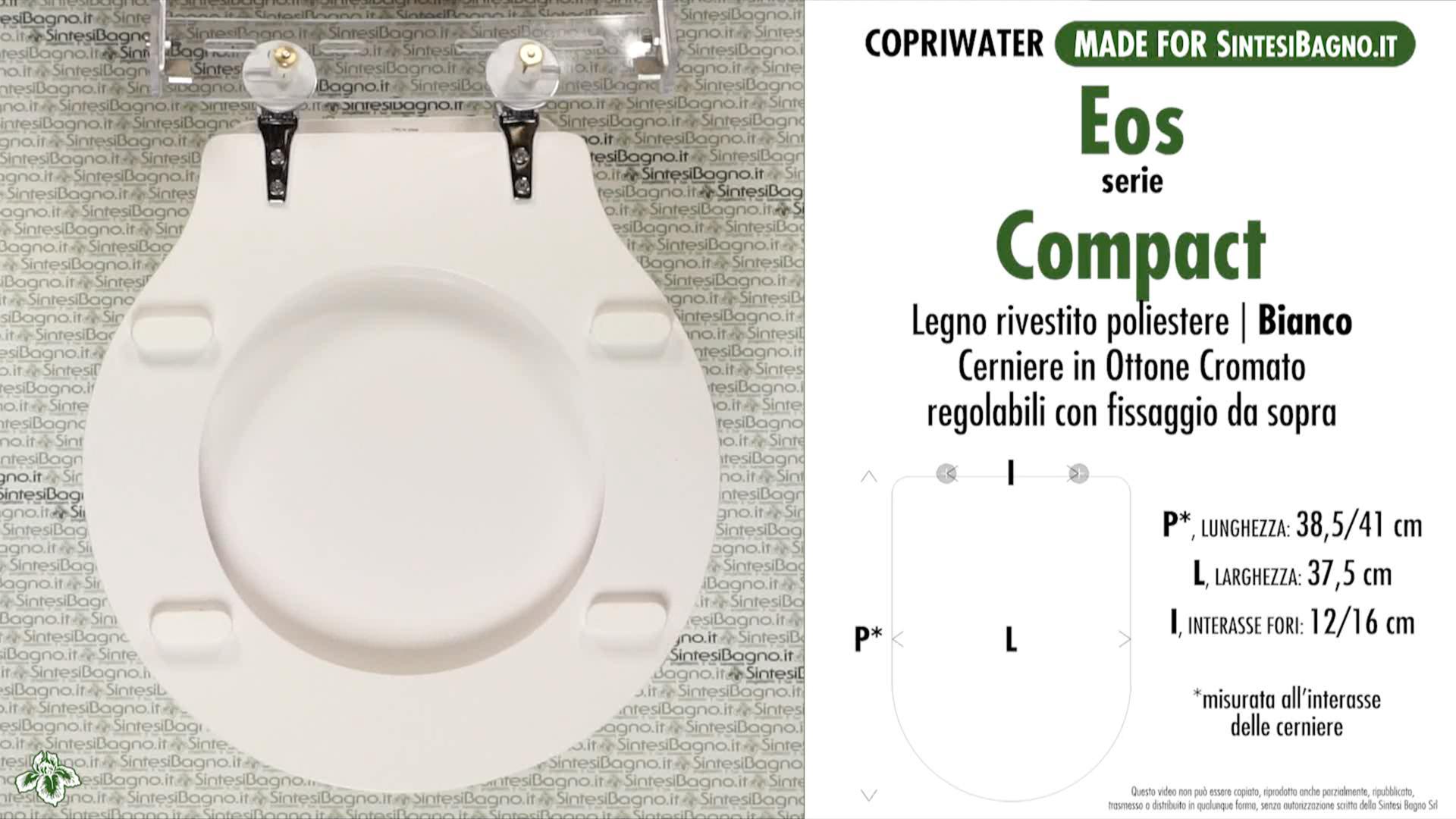 SCHEDA TECNICA MISURE copriwater EOS COMPACT
