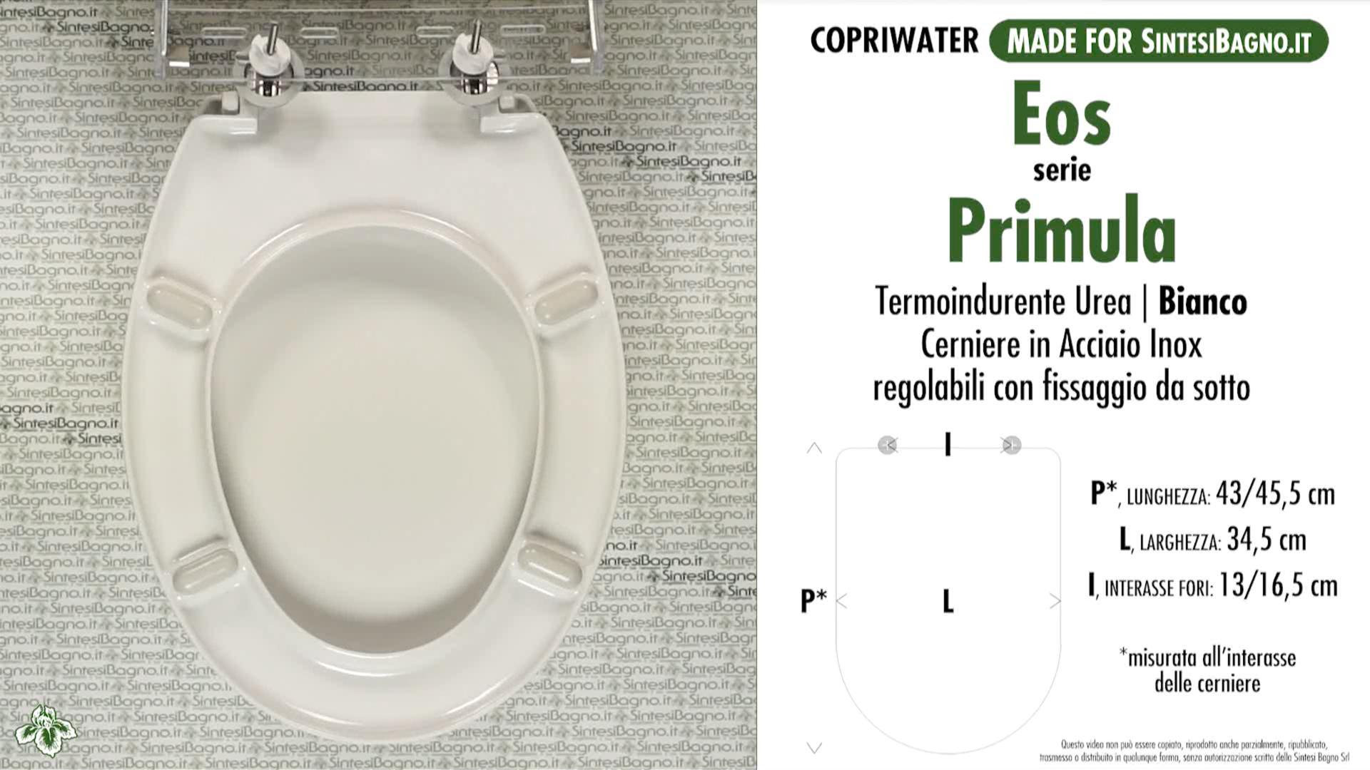 SCHEDA TECNICA MISURE copriwater EOS PRIMULA