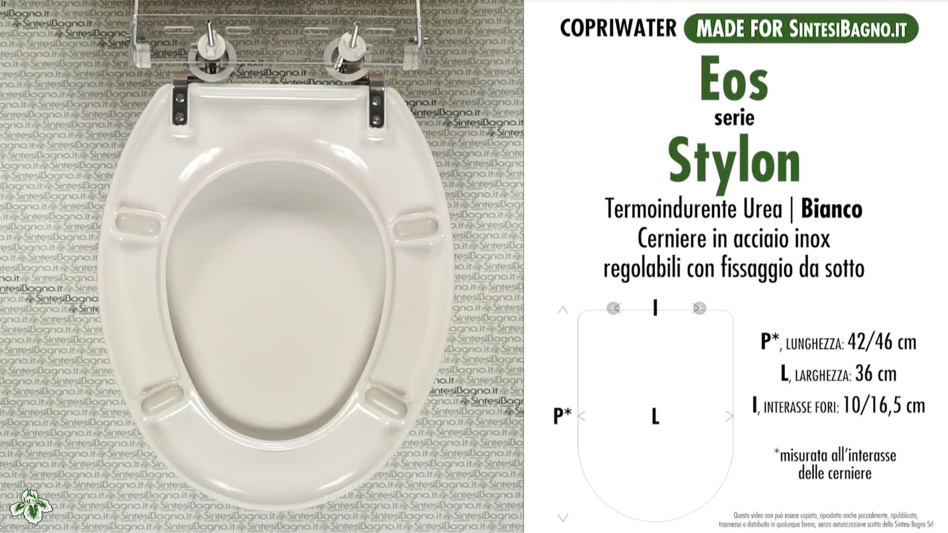 SCHEDA TECNICA MISURE copriwater EOS STYLON