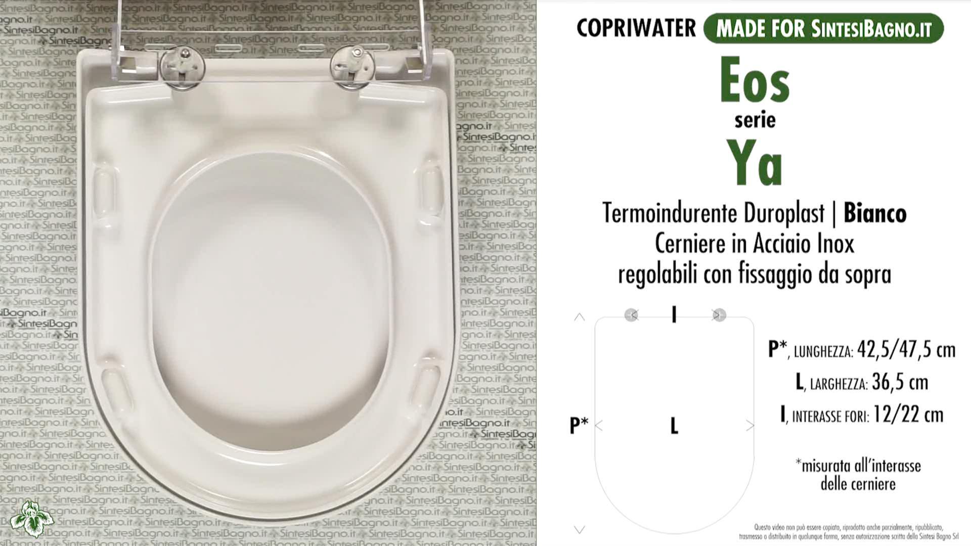 SCHEDA TECNICA MISURE copriwater EOS YA