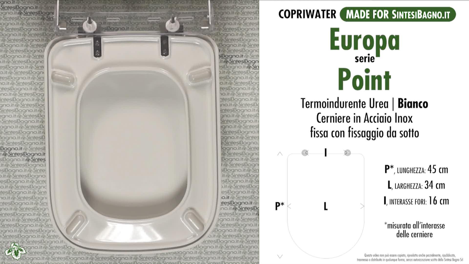 SCHEDA TECNICA MISURE copriwater EUROPA POINT