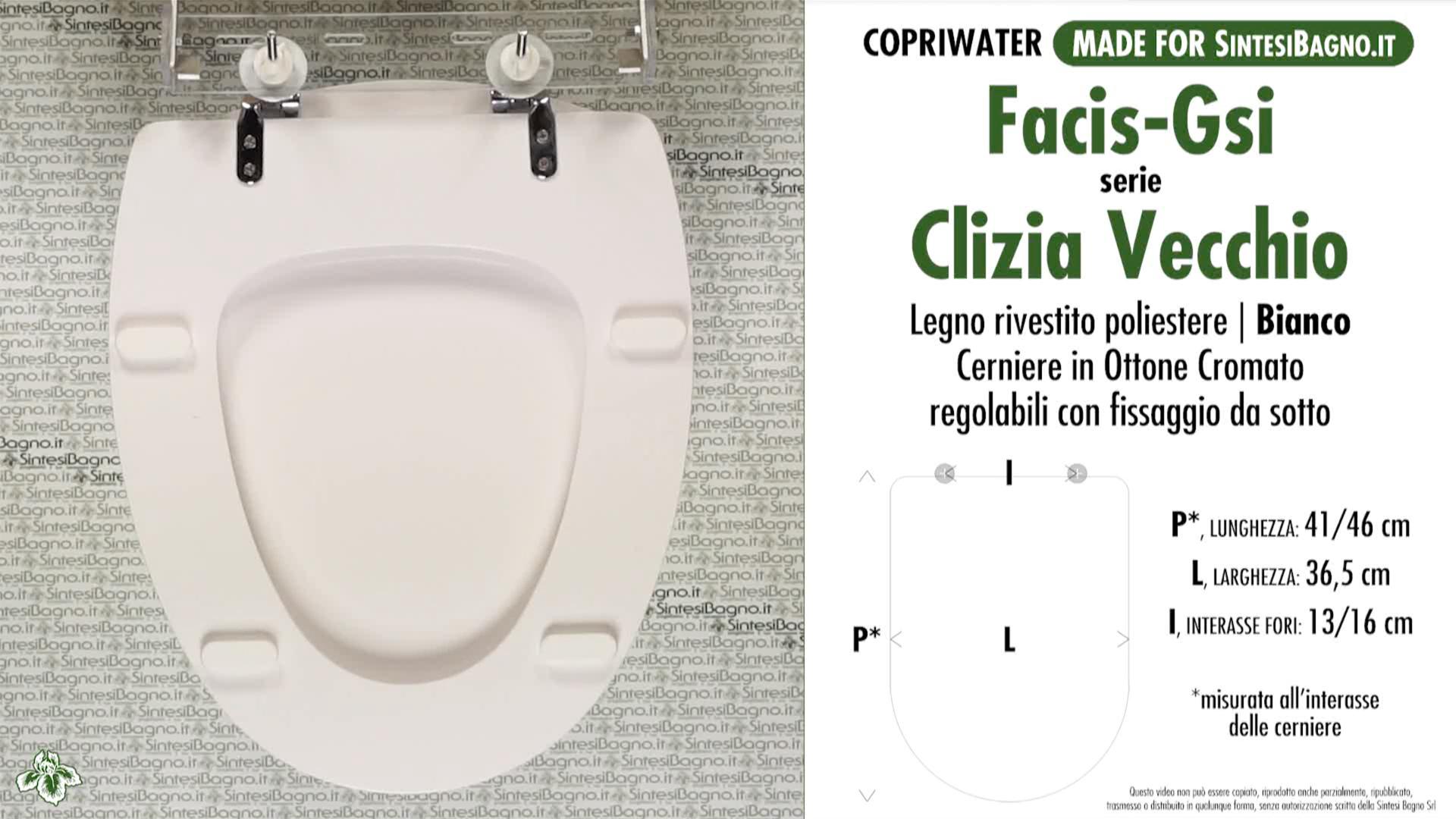 SCHEDA TECNICA MISURE copriwater FACIS/GSI CLIZIA
