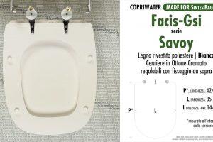 SCHEDA TECNICA MISURE copriwater FACIS/GSI SAVOY
