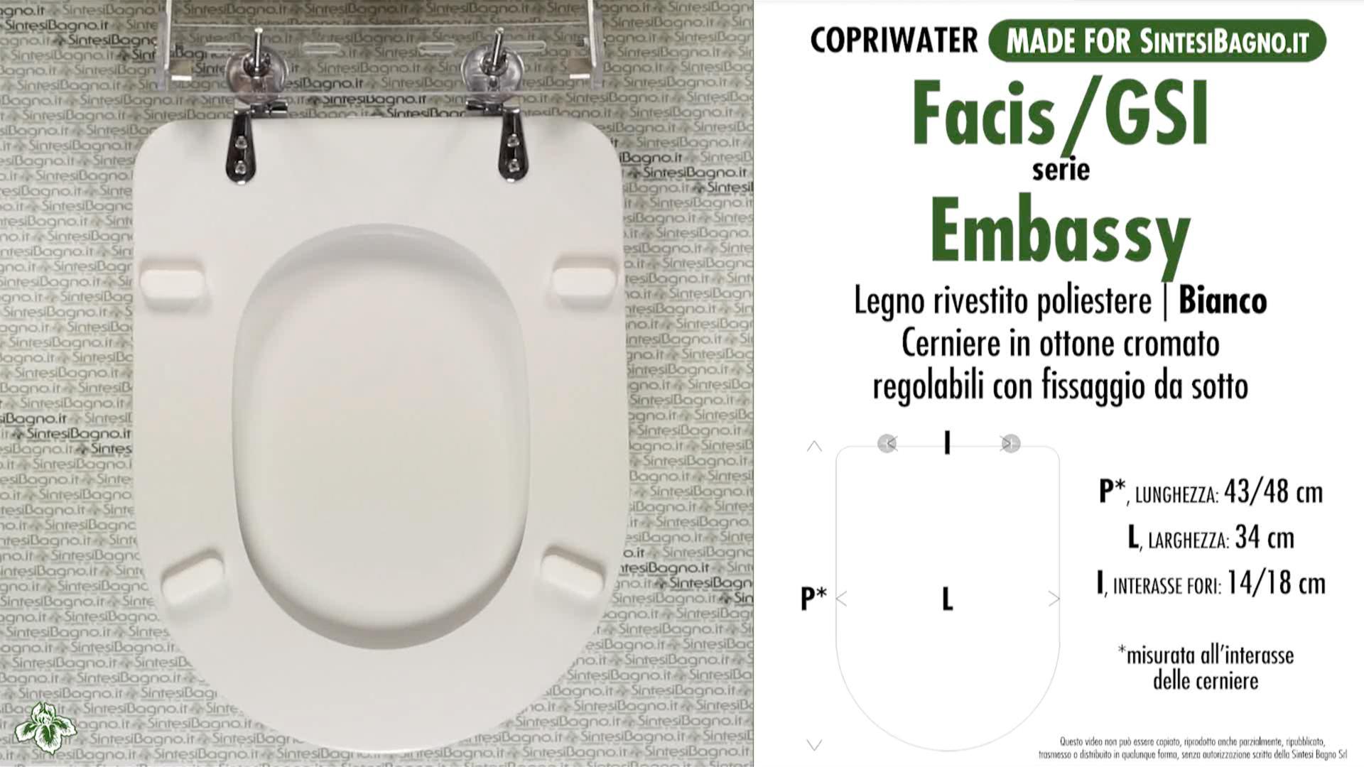 SCHEDA TECNICA MISURE copriwater FACIS/GSI EMBASSY