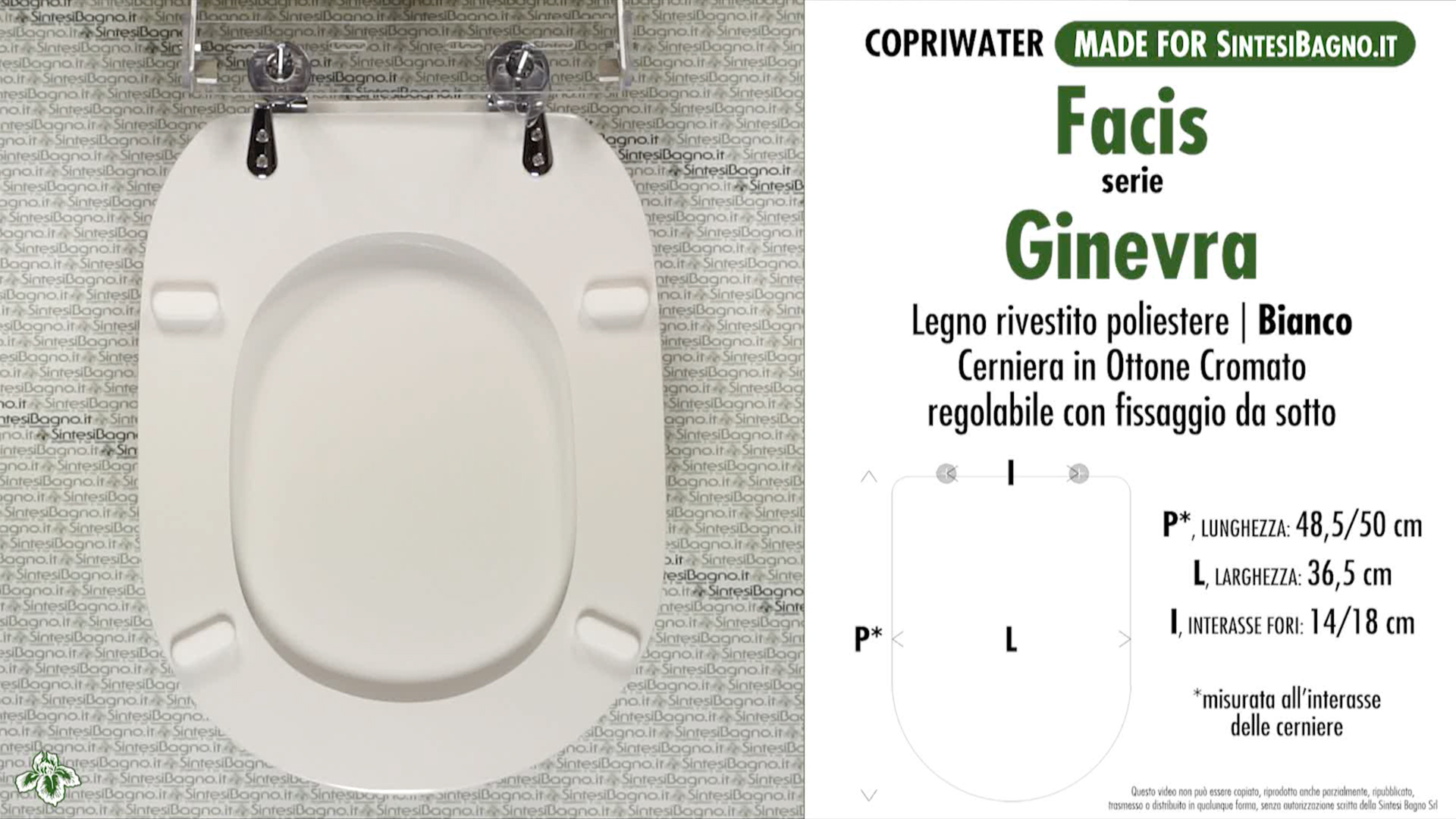 SCHEDA TECNICA MISURE copriwater FACIS/GSI GINEVRA