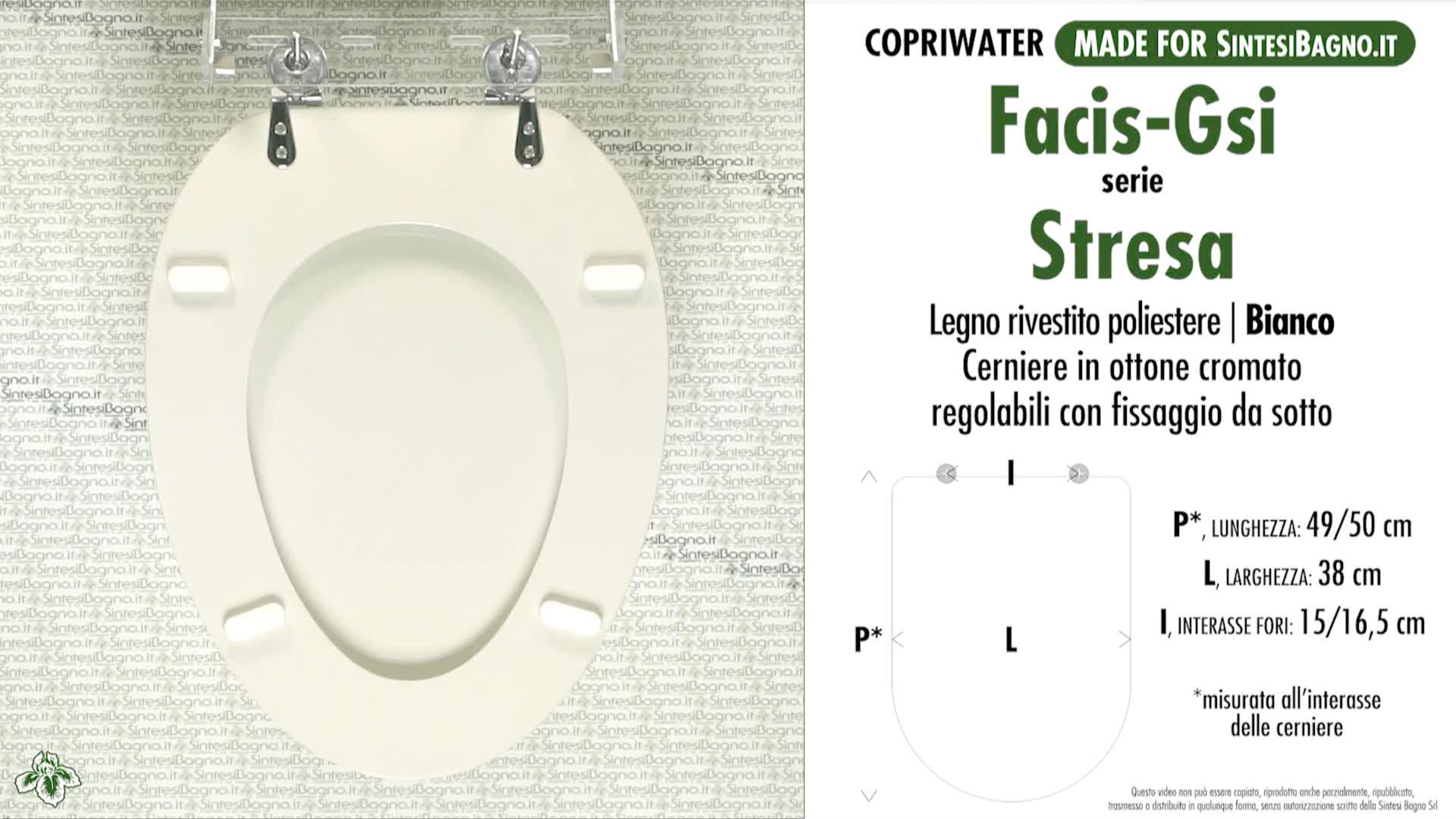 SCHEDA TECNICA MISURE copriwater FACIS/GSI STRESA