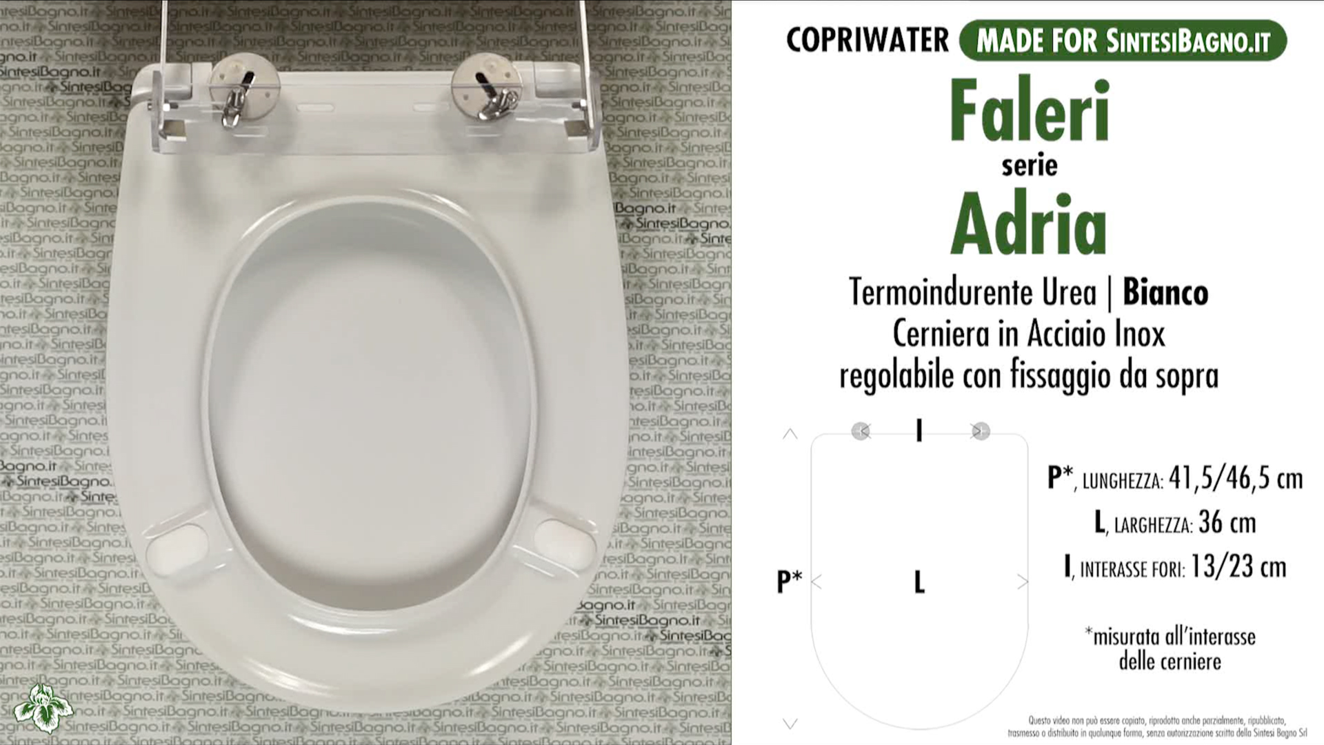 SCHEDA TECNICA MISURE copriwater FALERI ADRIA