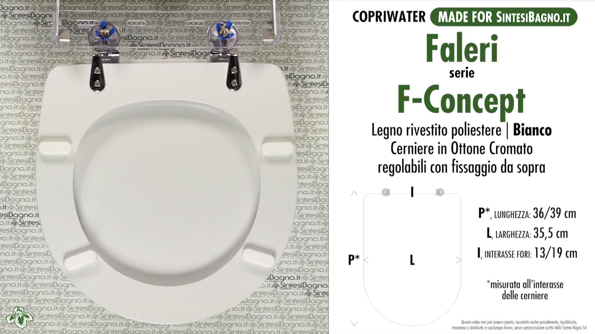 SCHEDA TECNICA MISURE copriwater FALERI F-CONCEPT