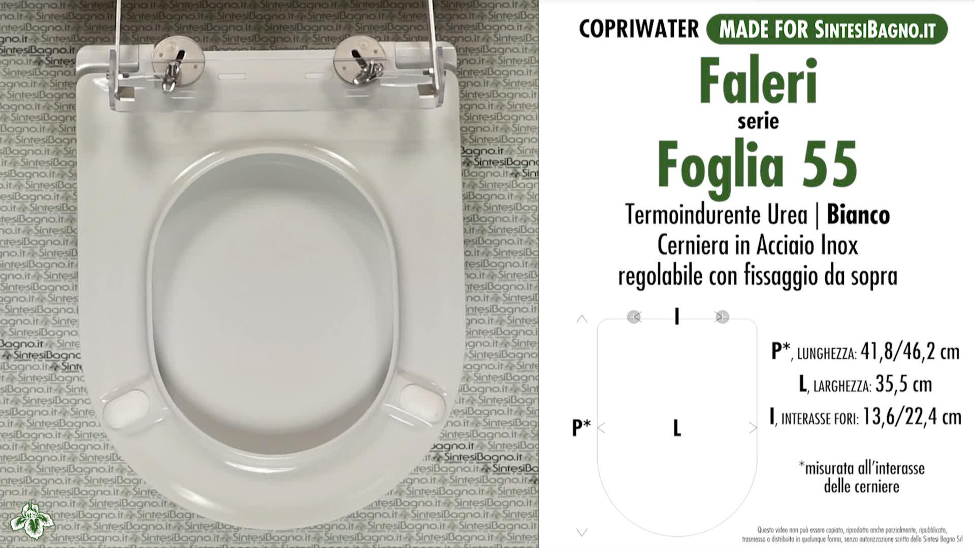SCHEDA TECNICA MISURE copriwater FALERI FOGLIA 55