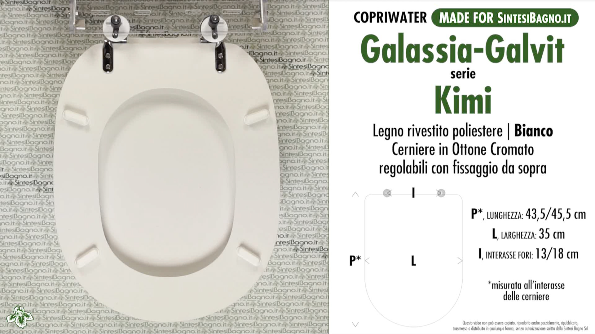 SCHEDA TECNICA MISURE copriwater GALASSIA-GALVIT KIMI