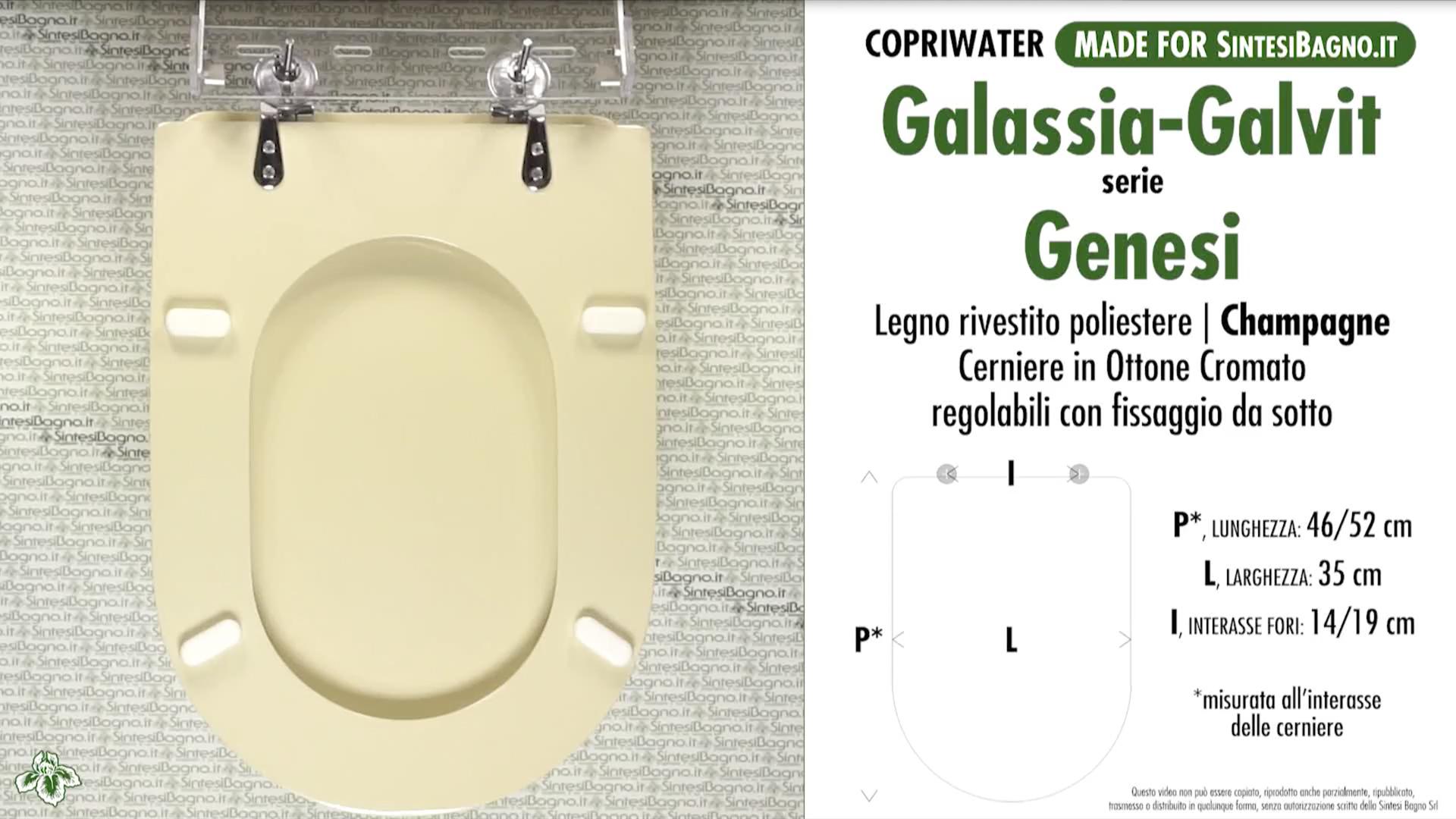 SCHEDA TECNICA MISURE copriwater GALASSIA-GALVIT GENESI