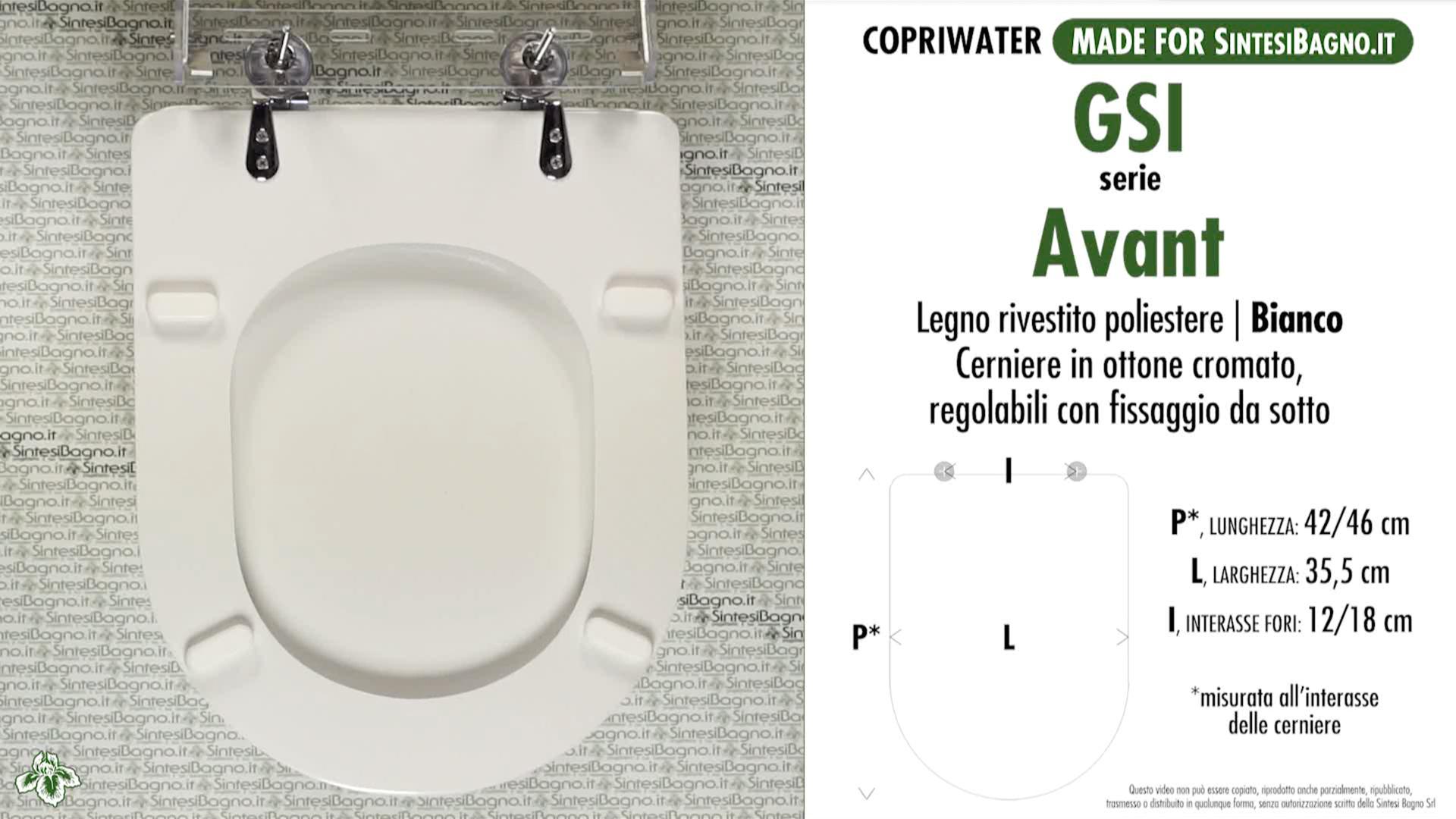 SCHEDA TECNICA MISURE copriwater FACIS/GSI AVANT