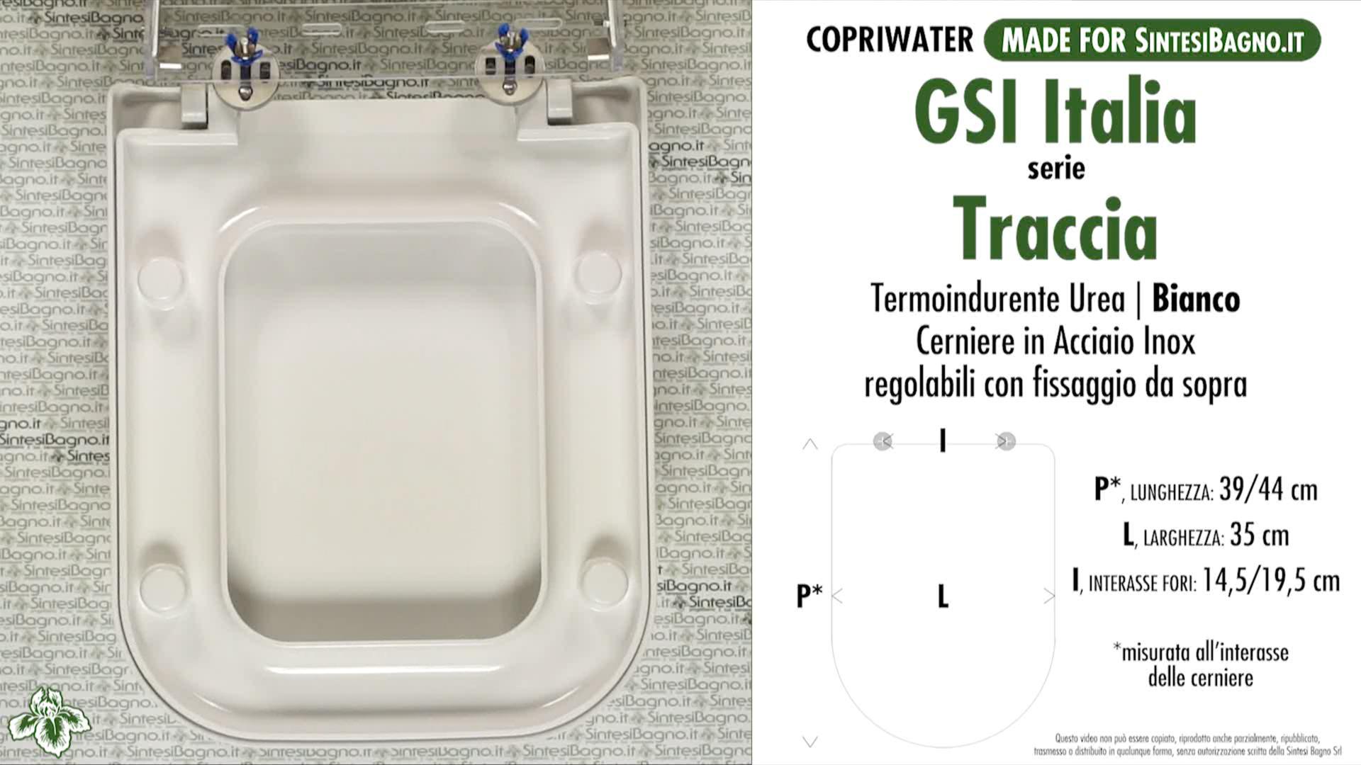 SCHEDA TECNICA MISURE copriwater FACIS/GSI TRACCIA