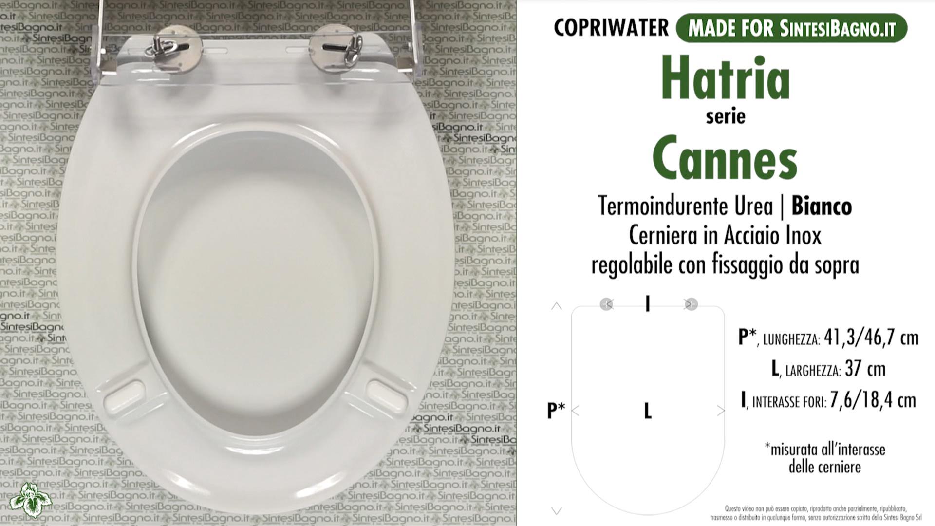 SCHEDA TECNICA MISURE copriwater HATRIA CANNES