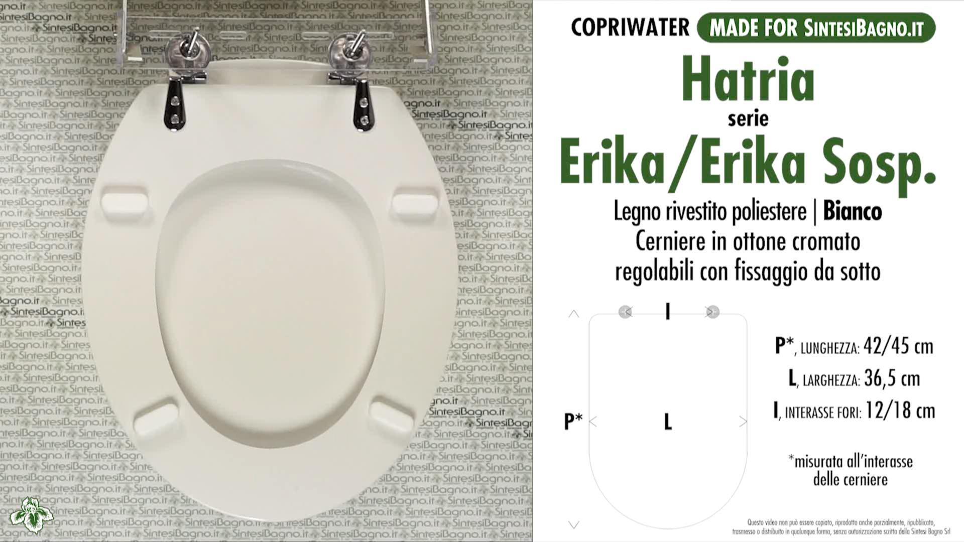 SCHEDA TECNICA MISURE copriwater HATRIA ERIKA